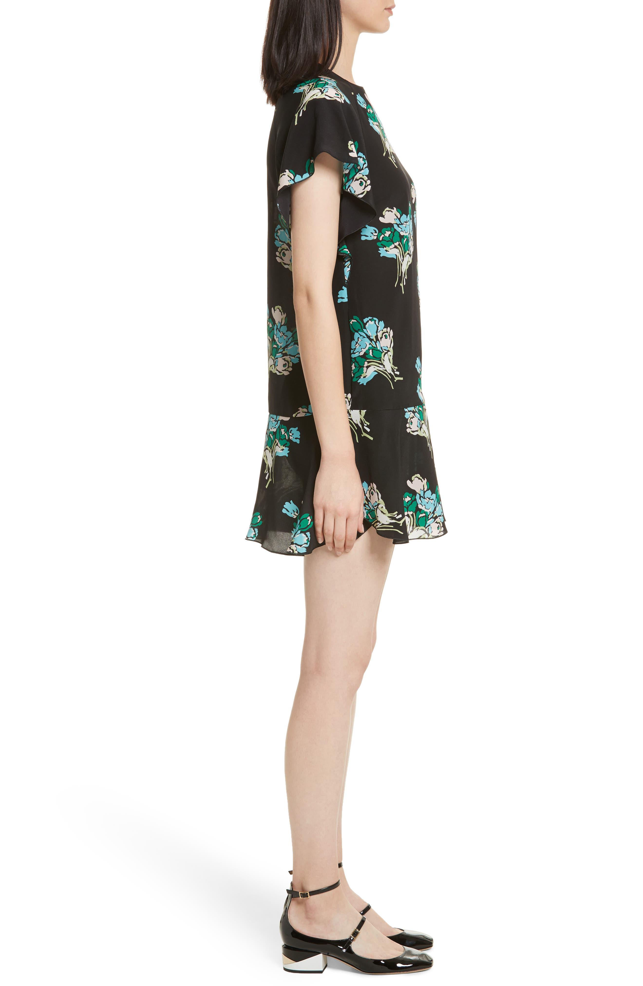 Floral Silk Crepe de Chine Dress,                             Alternate thumbnail 3, color,                             001