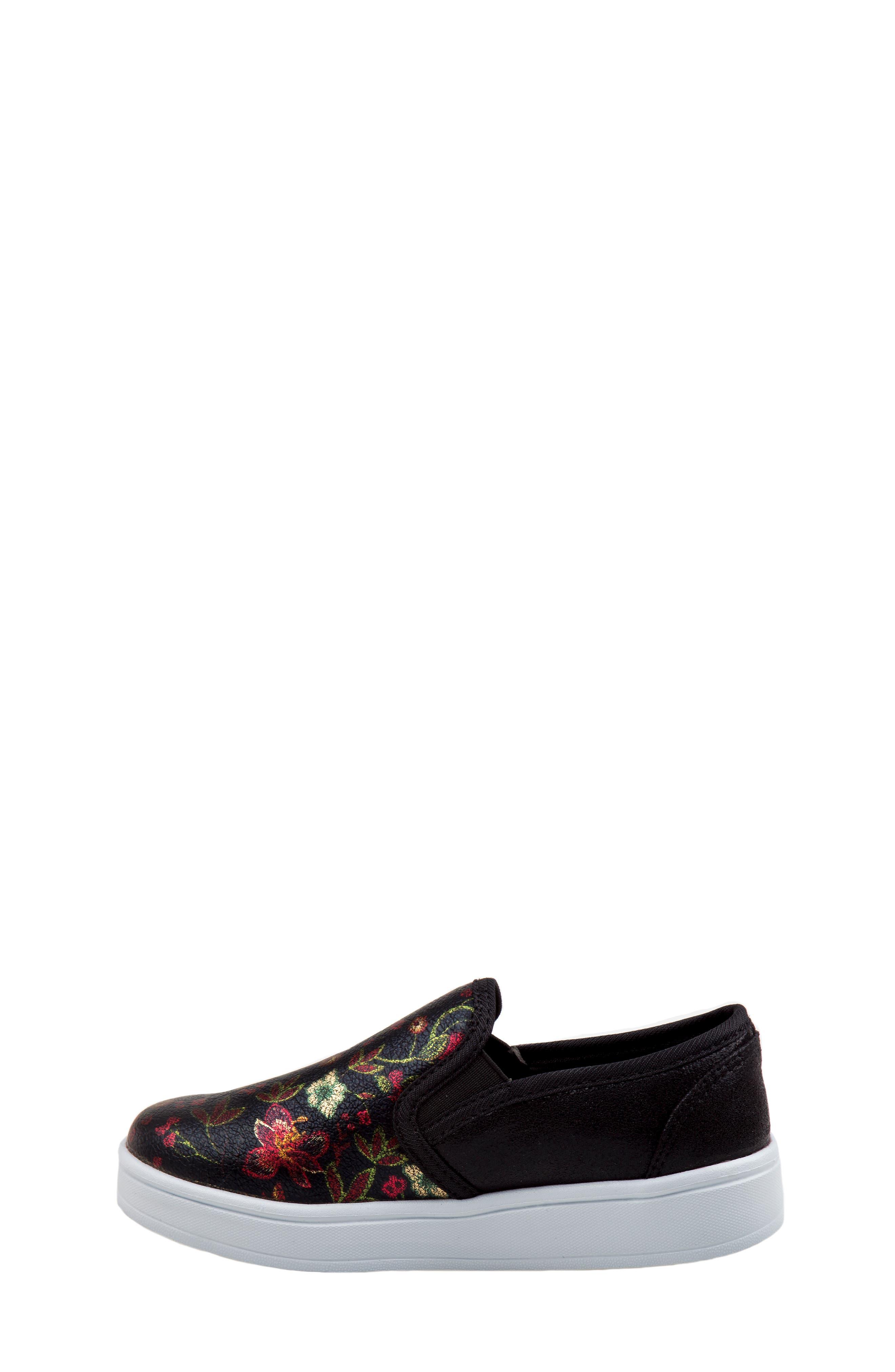 Floral Slip-On Sneaker,                             Alternate thumbnail 7, color,                             BLACK