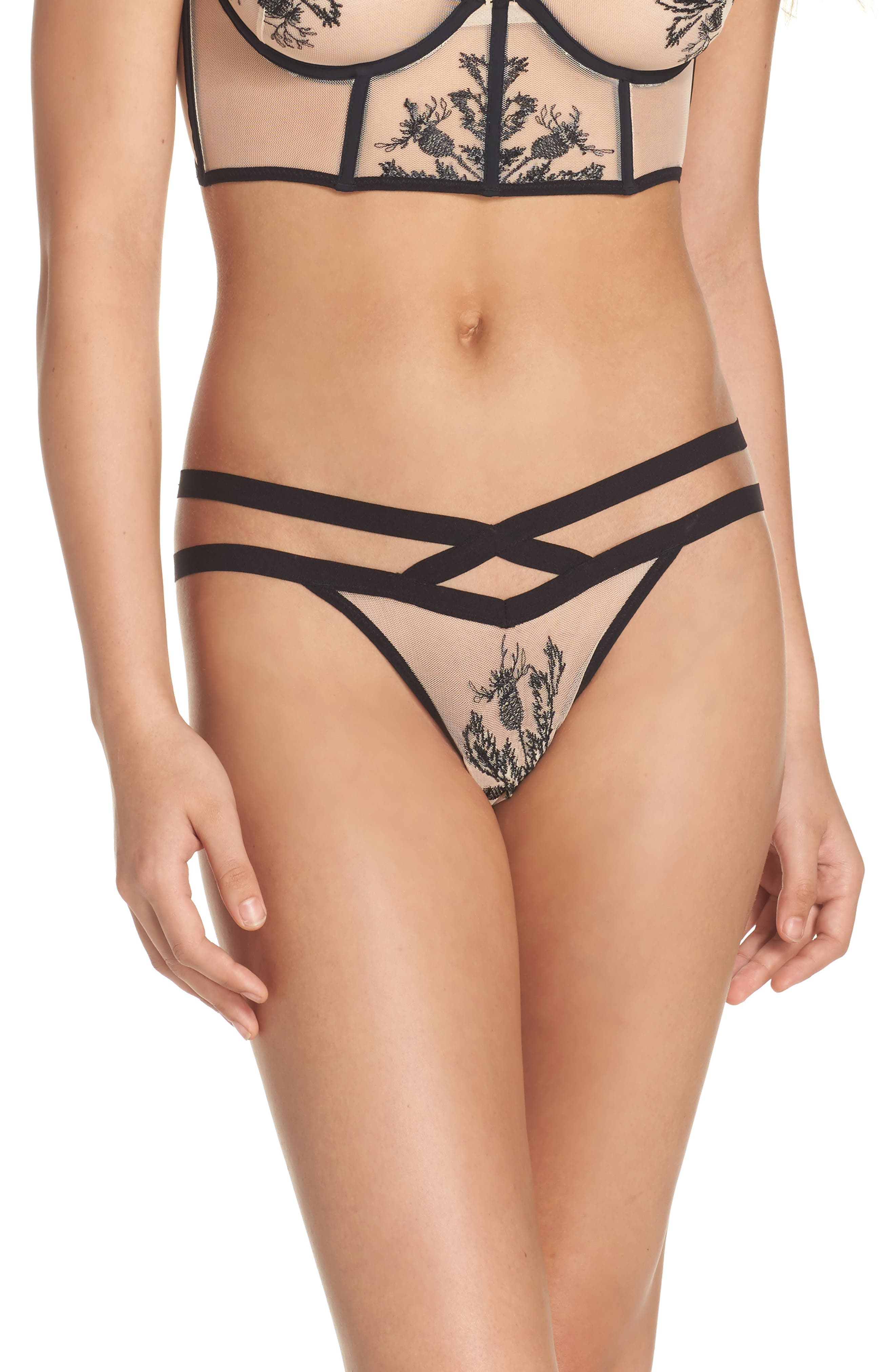 Verona Embroidered Mesh Thong,                             Main thumbnail 1, color,                             001