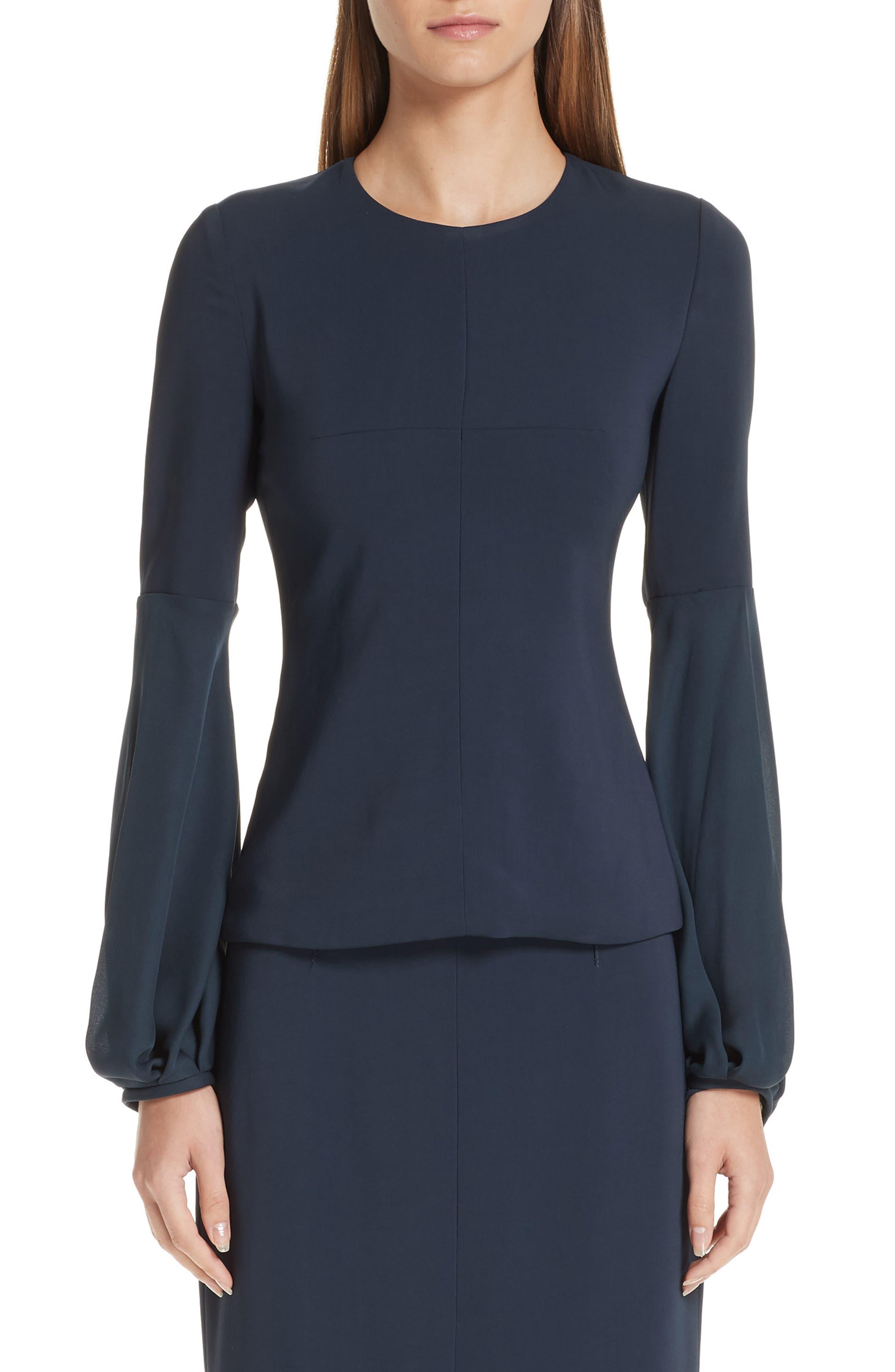 CUSHNIE Georgette Billowing Sleeve Top, Main, color, STORM