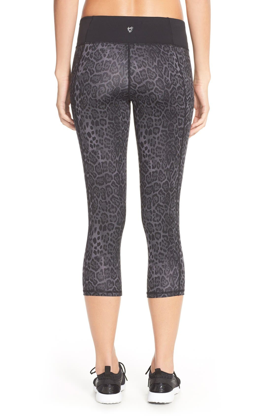 'Stria' Leopard Print Capris,                             Alternate thumbnail 5, color,                             001