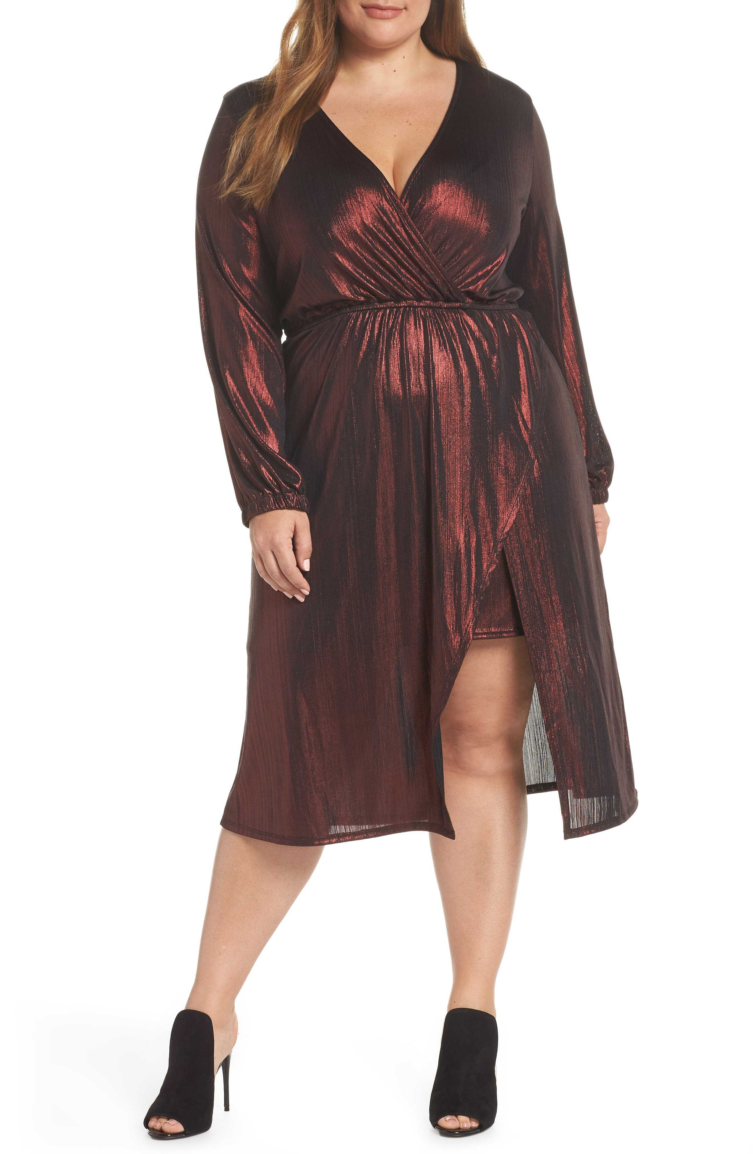Long Sleeve Deep V-Neck Midi Dress,                         Main,                         color, ROSE GOLD