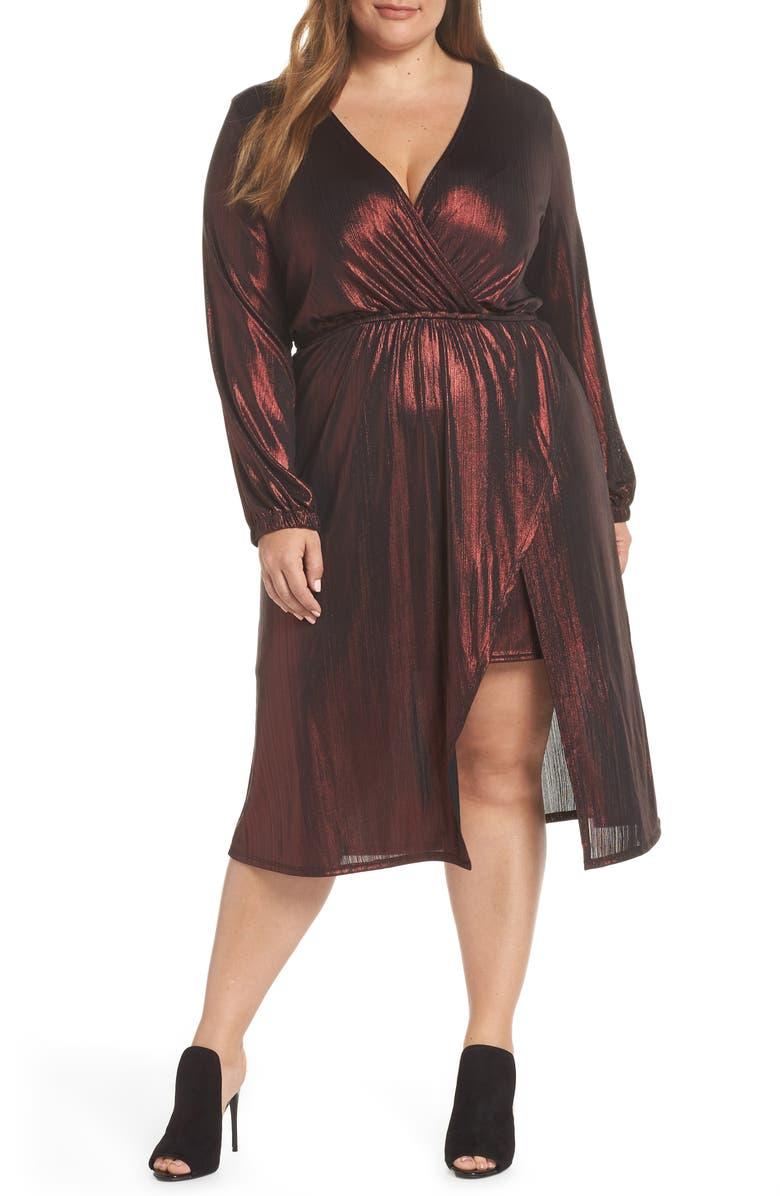 f20df828f2 Leith Long Sleeve Deep V-Neck Midi Dress (Plus Size)