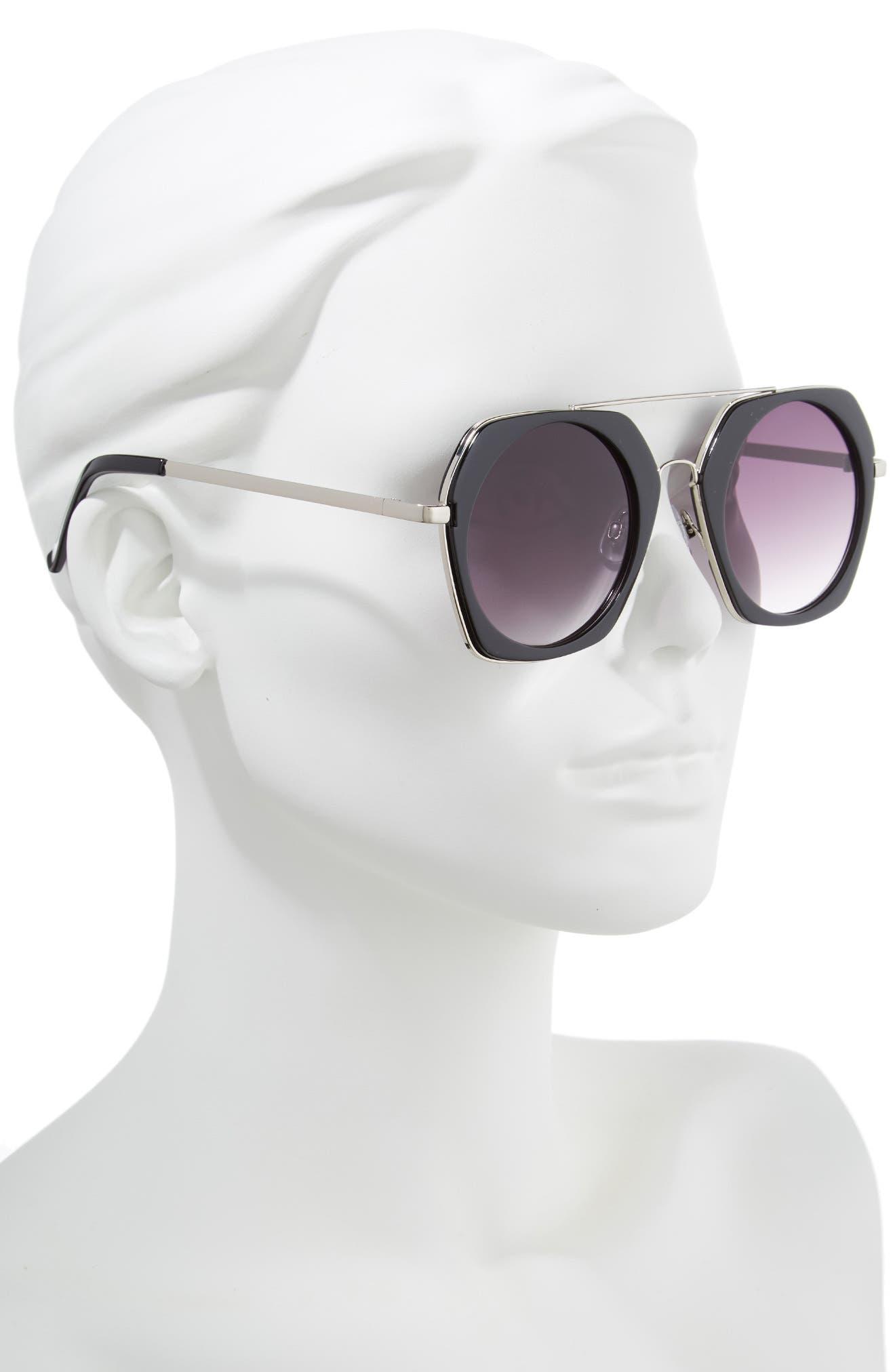 50mm Geometric Aviator Sunglasses,                             Alternate thumbnail 2, color,                             BLACK