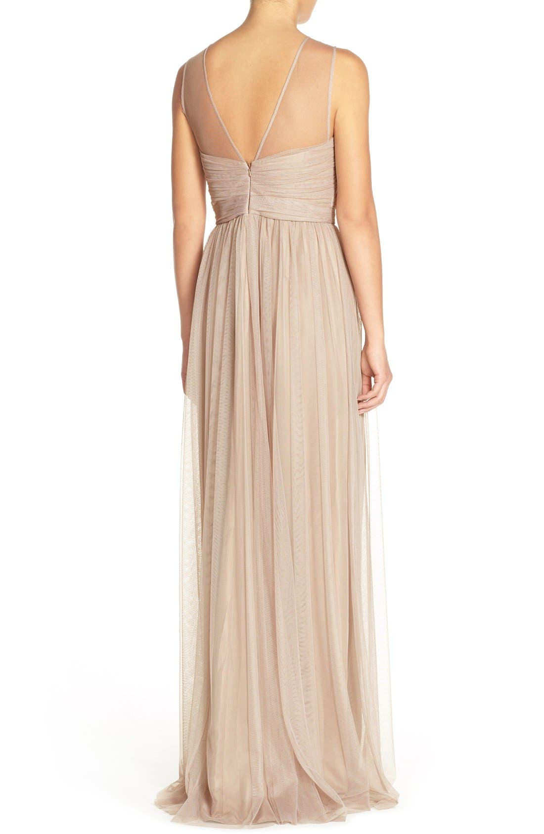 'Alyce' Illusion V-Neck Pleat Tulle Gown,                             Alternate thumbnail 6, color,
