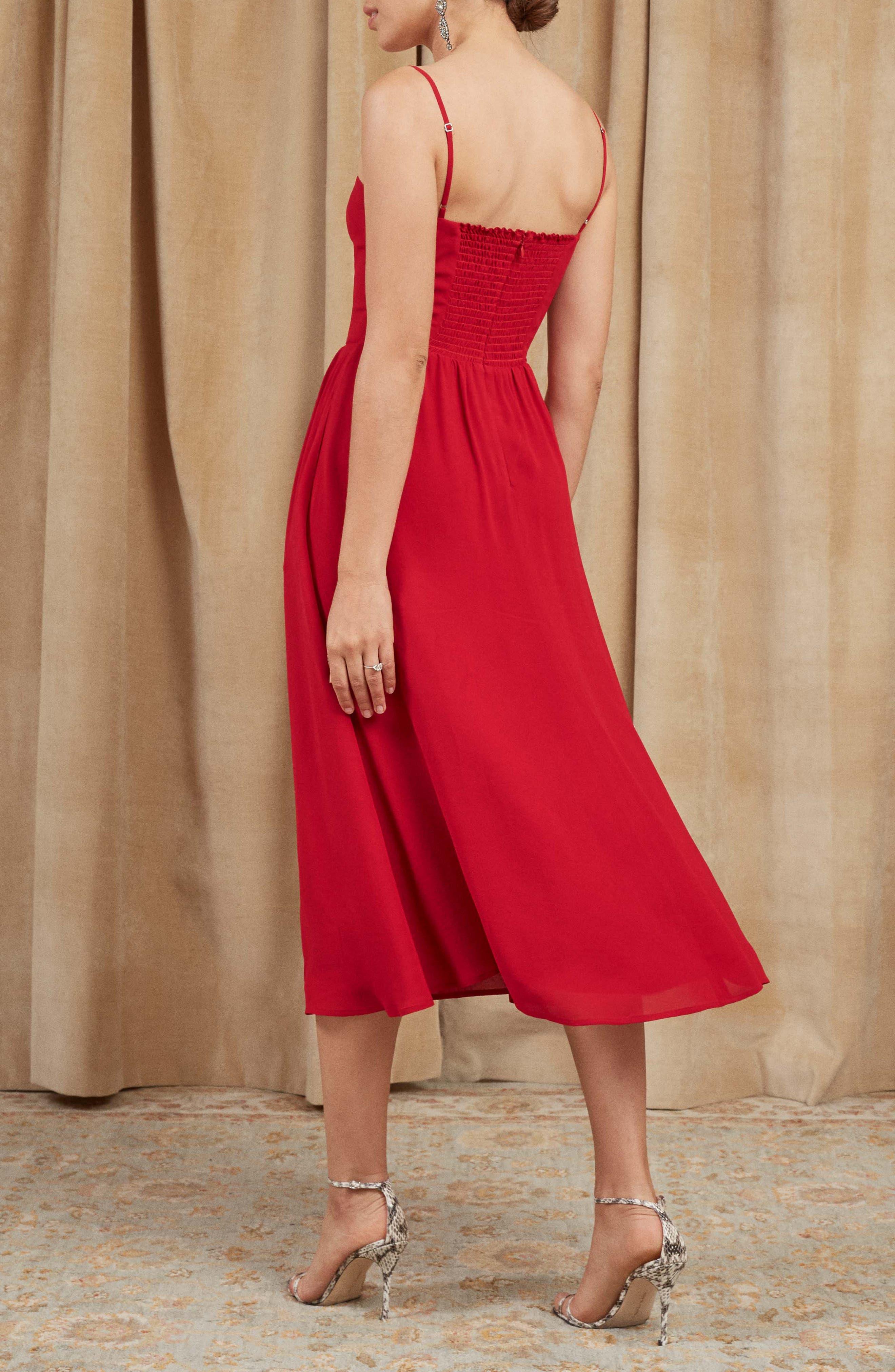 Rosehip Fit & Flare Dress,                             Alternate thumbnail 3, color,                             LIPSTICK
