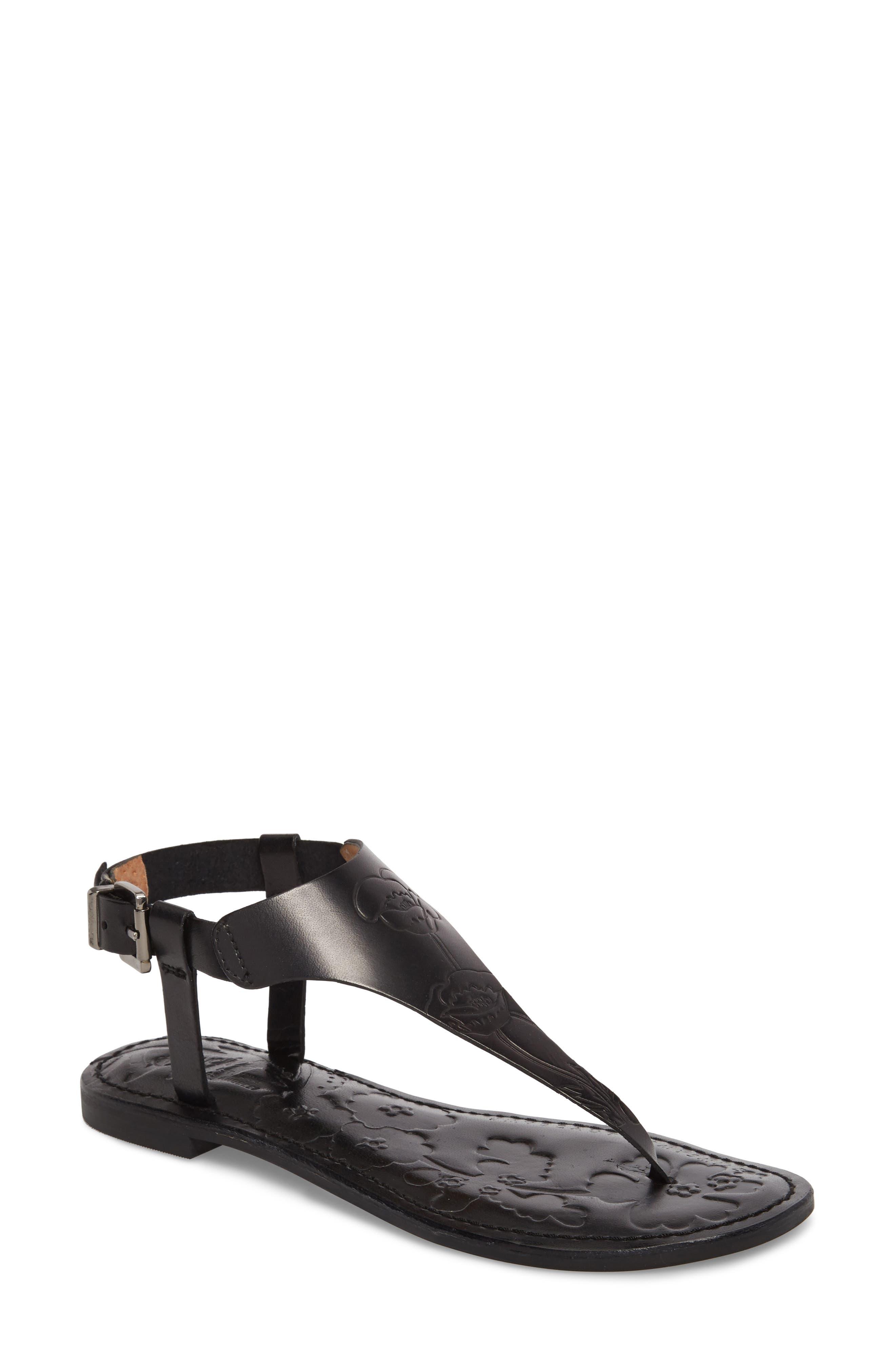 Laxmi Embossed Sandal,                             Main thumbnail 1, color,                             BLACK LEATHER
