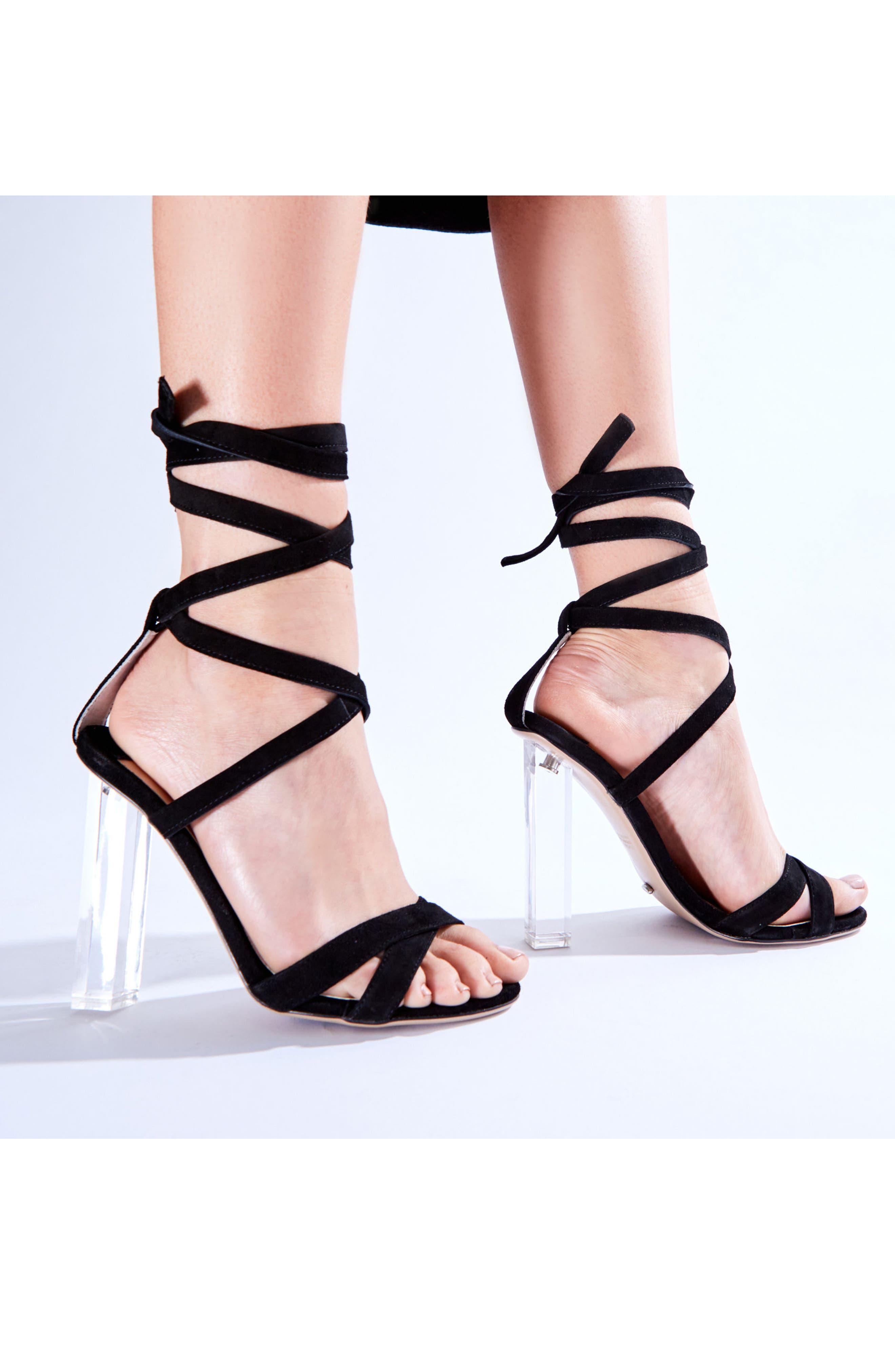 Komma Translucent Heel Sandal,                             Alternate thumbnail 5, color,                             001