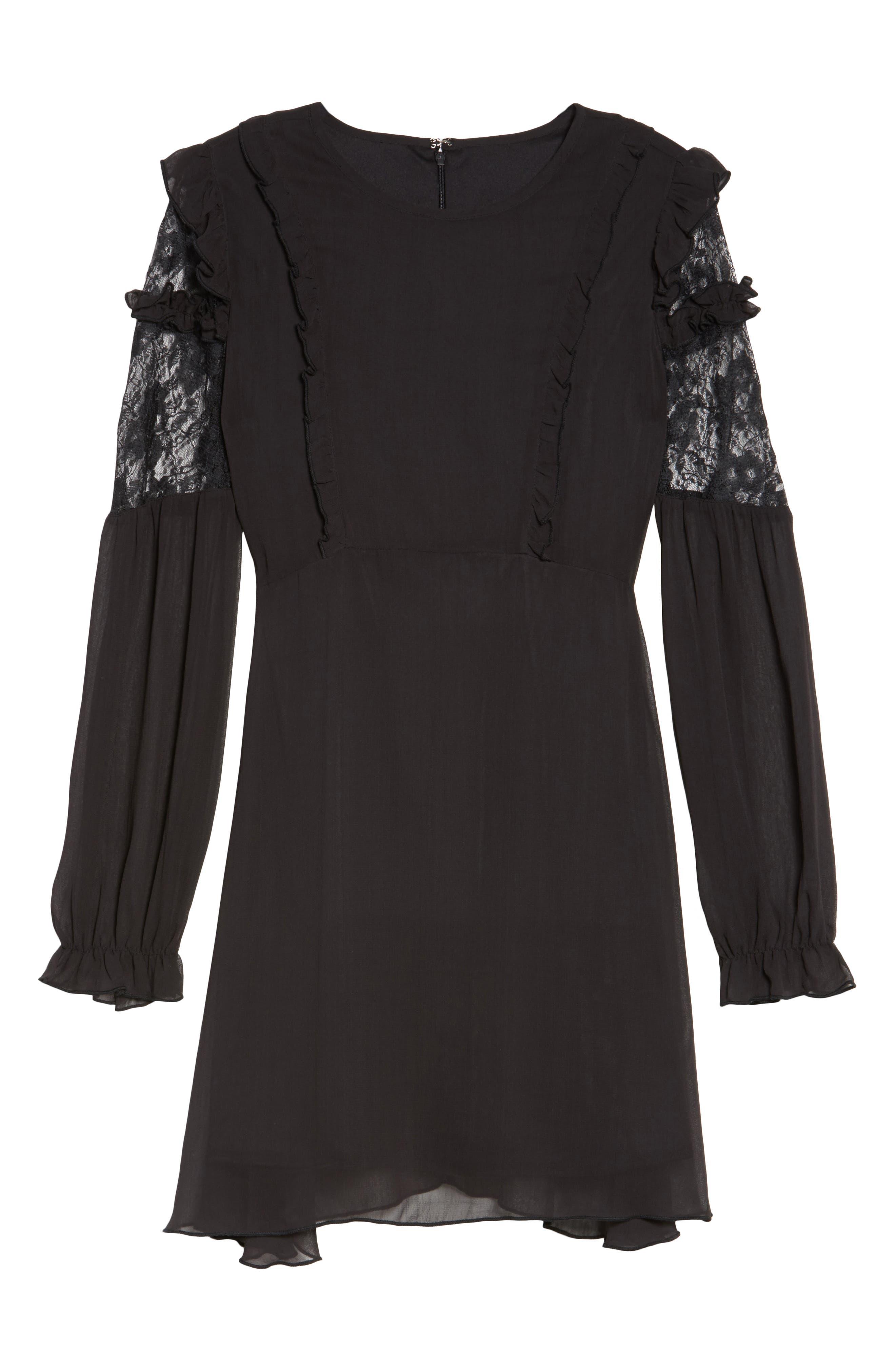 Lace & Chiffon Dress,                             Alternate thumbnail 6, color,                             001