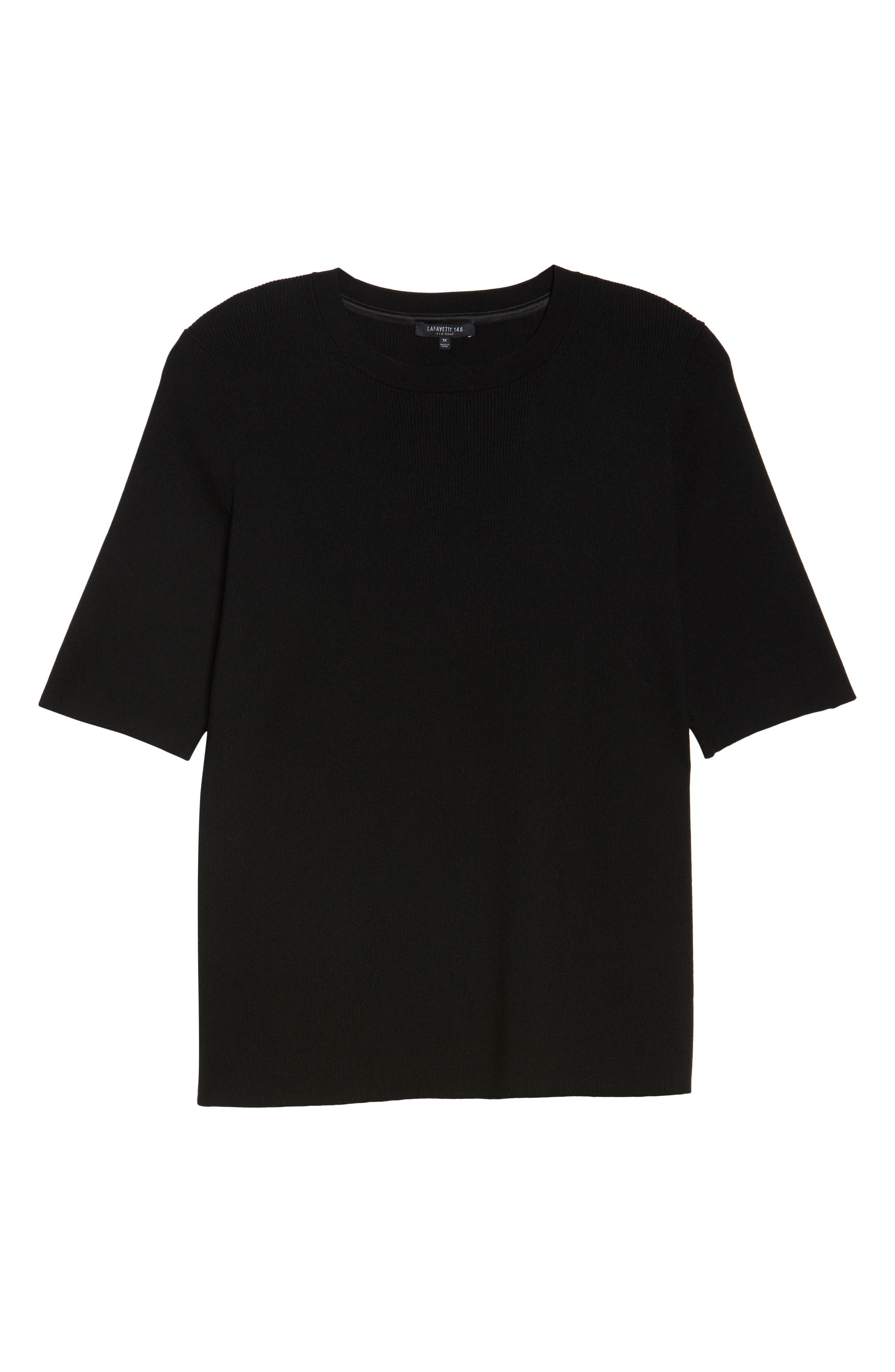 Skinny Ribbed Sweater,                             Alternate thumbnail 6, color,                             001