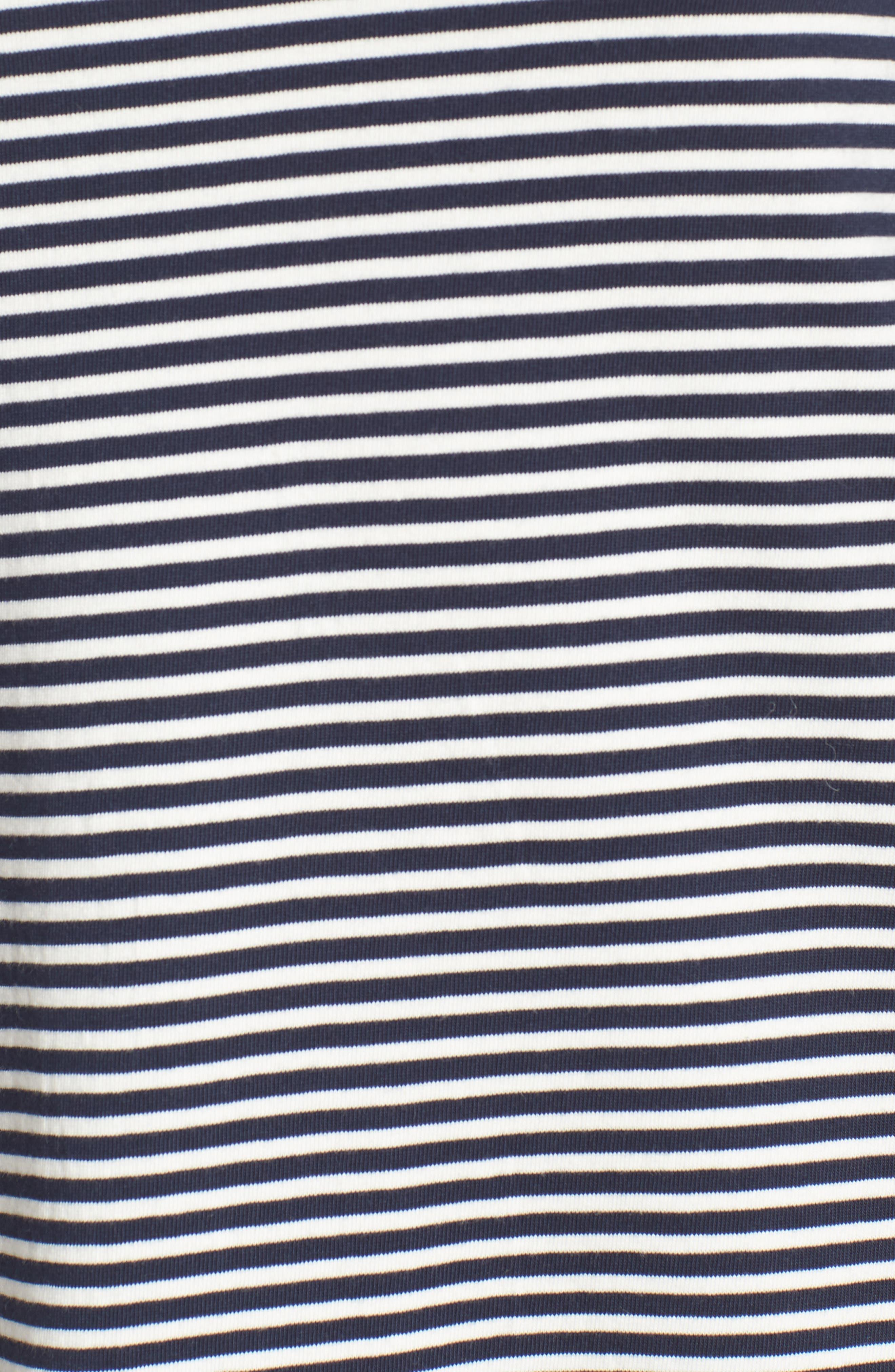Easy Pocket Cotton Knit Stripe Dress,                             Alternate thumbnail 5, color,