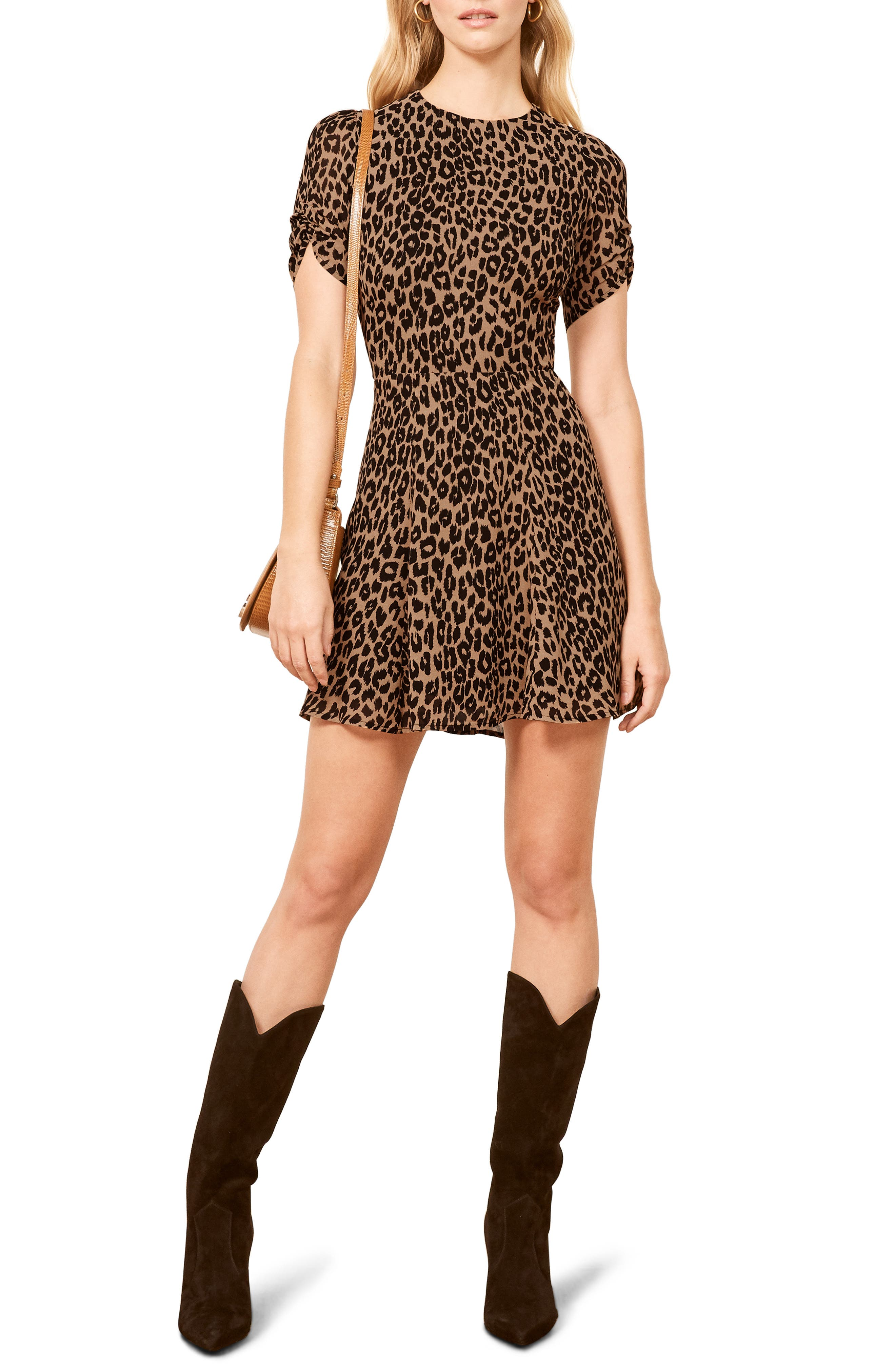 REFORMATION Gracie Ruched Sleeve Minidress, Main, color, COUGAR