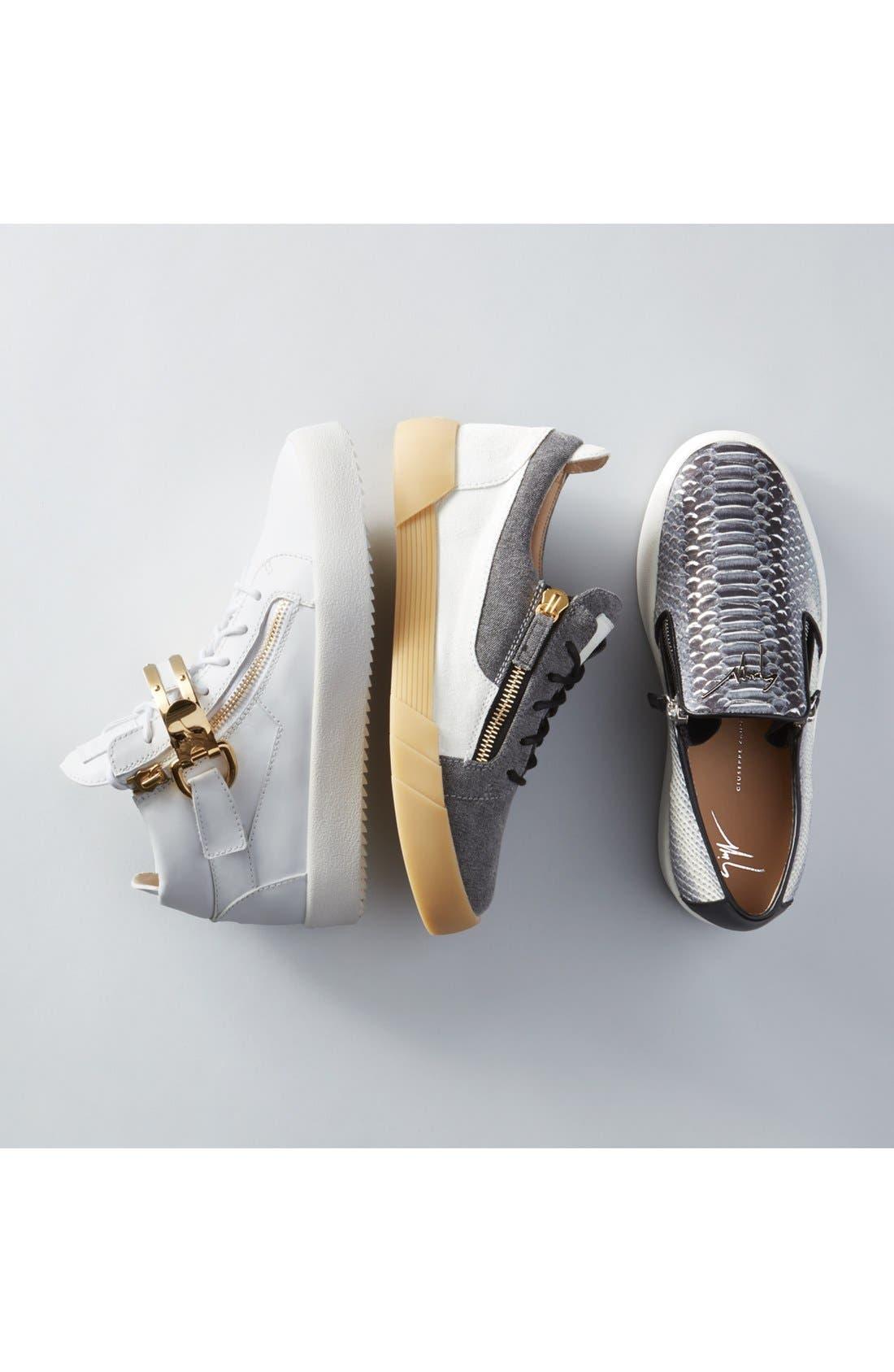 Side Zip High Top Sneaker,                             Alternate thumbnail 5, color,                             001