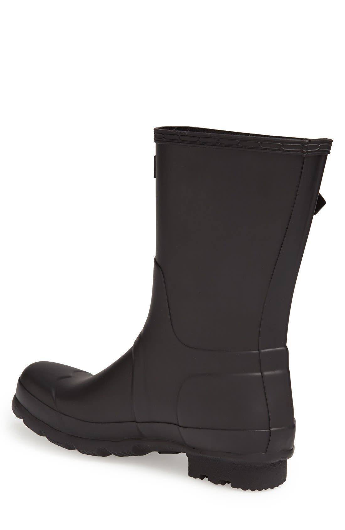 HUNTER,                             Original Short Waterproof Rain Boot,                             Alternate thumbnail 2, color,                             BLACK