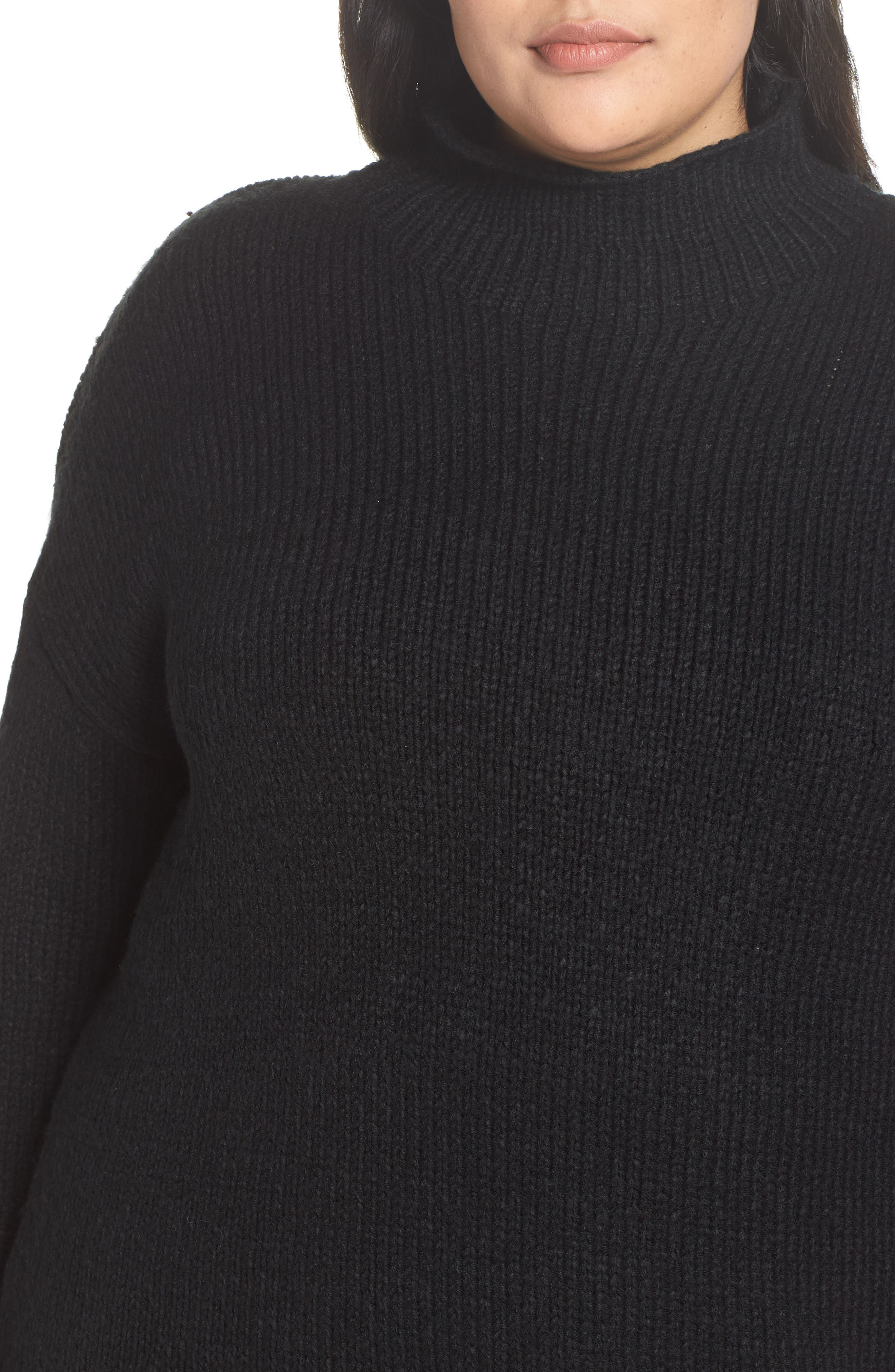 Supersized Curl Up Sweater,                             Alternate thumbnail 4, color,                             001