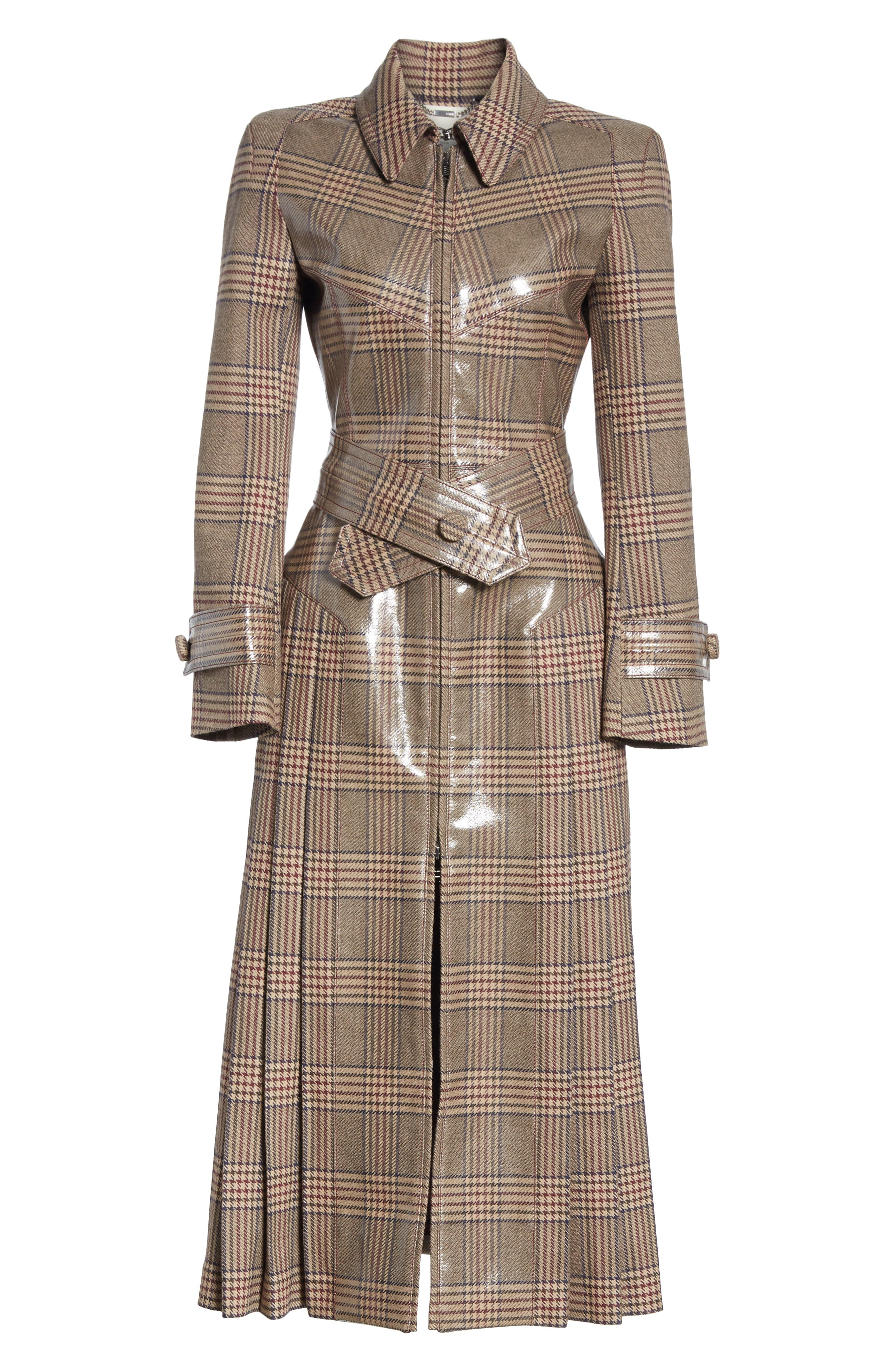 Checked Glazed Wool Trench Coat,                             Alternate thumbnail 5, color,                             024
