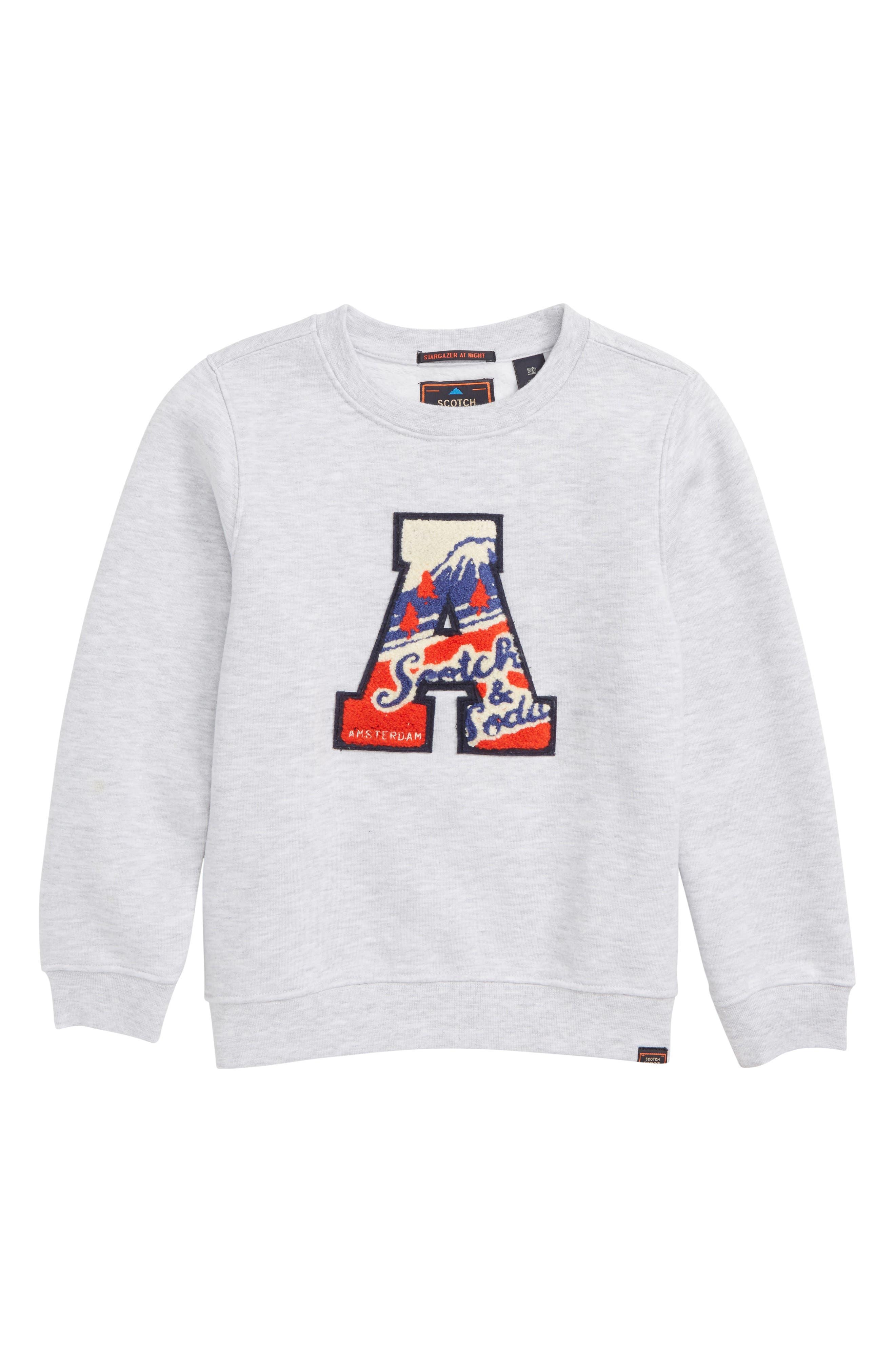 Badge Sweatshirt,                             Main thumbnail 1, color,                             GREY MELANGE