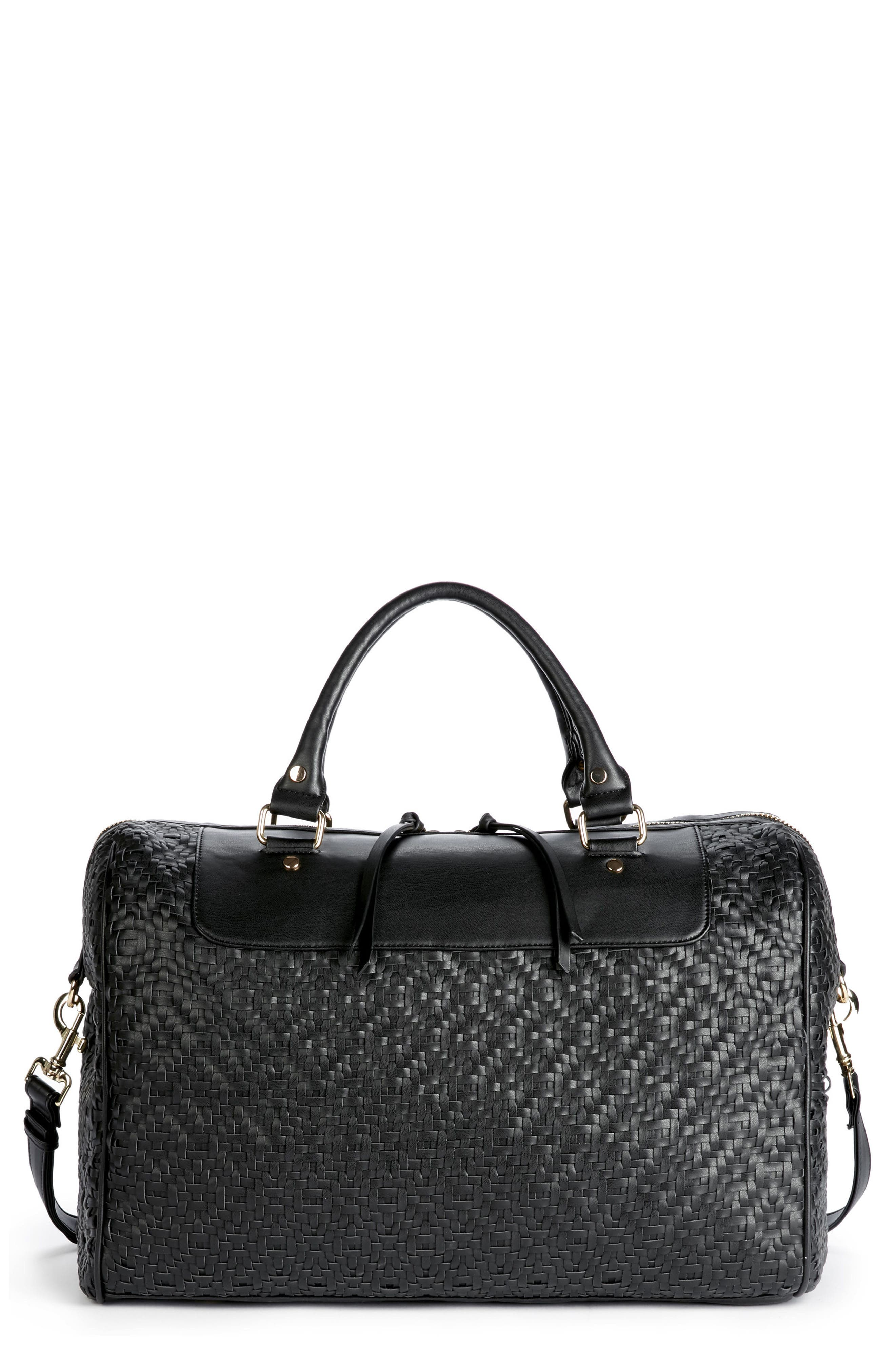 SOLE SOCIETY Weave Oversize Satchel, Main, color, 001