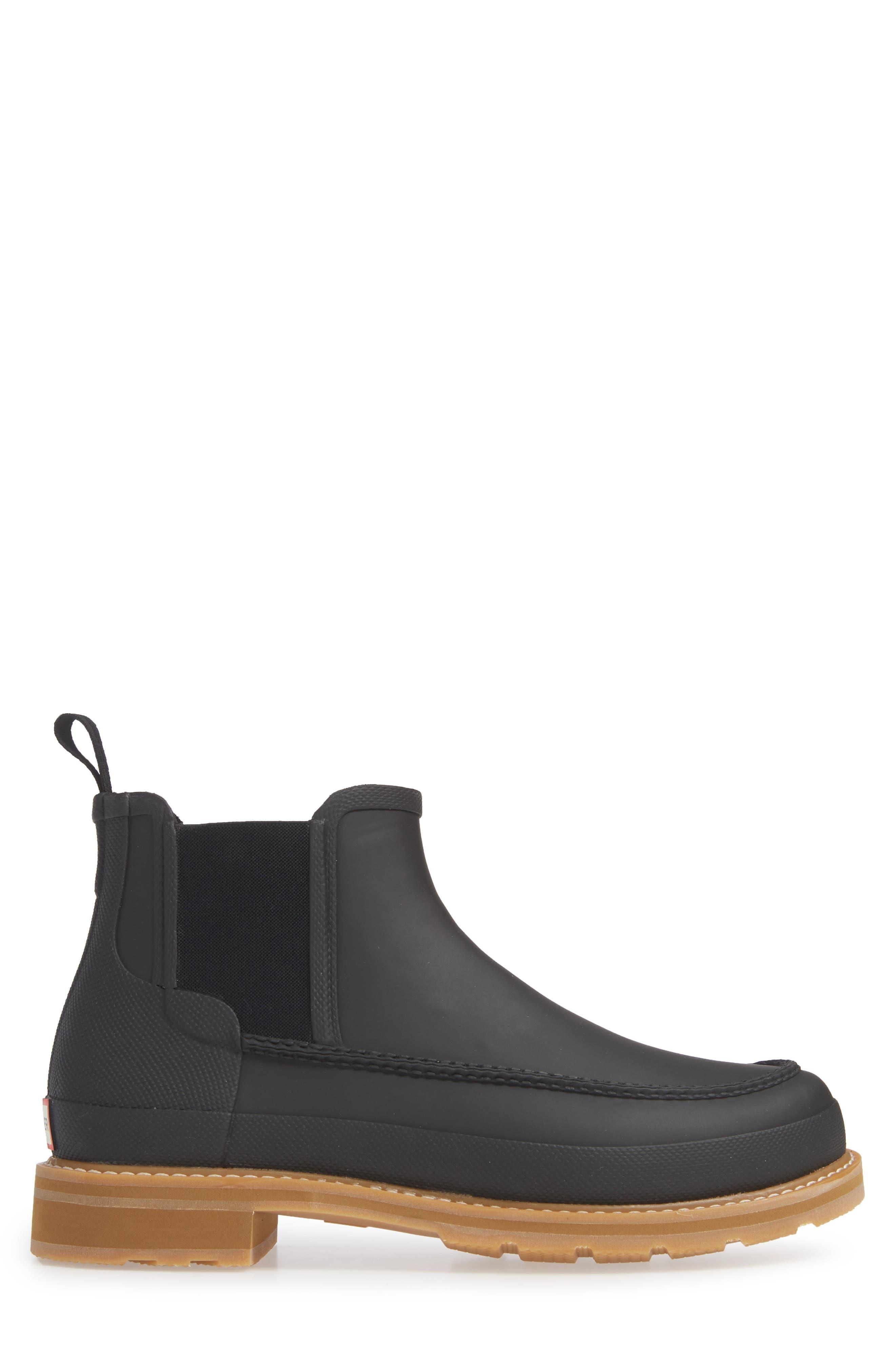 HUNTER,                             Moc Toe Waterproof Chelsea Boot,                             Alternate thumbnail 3, color,                             BLACK