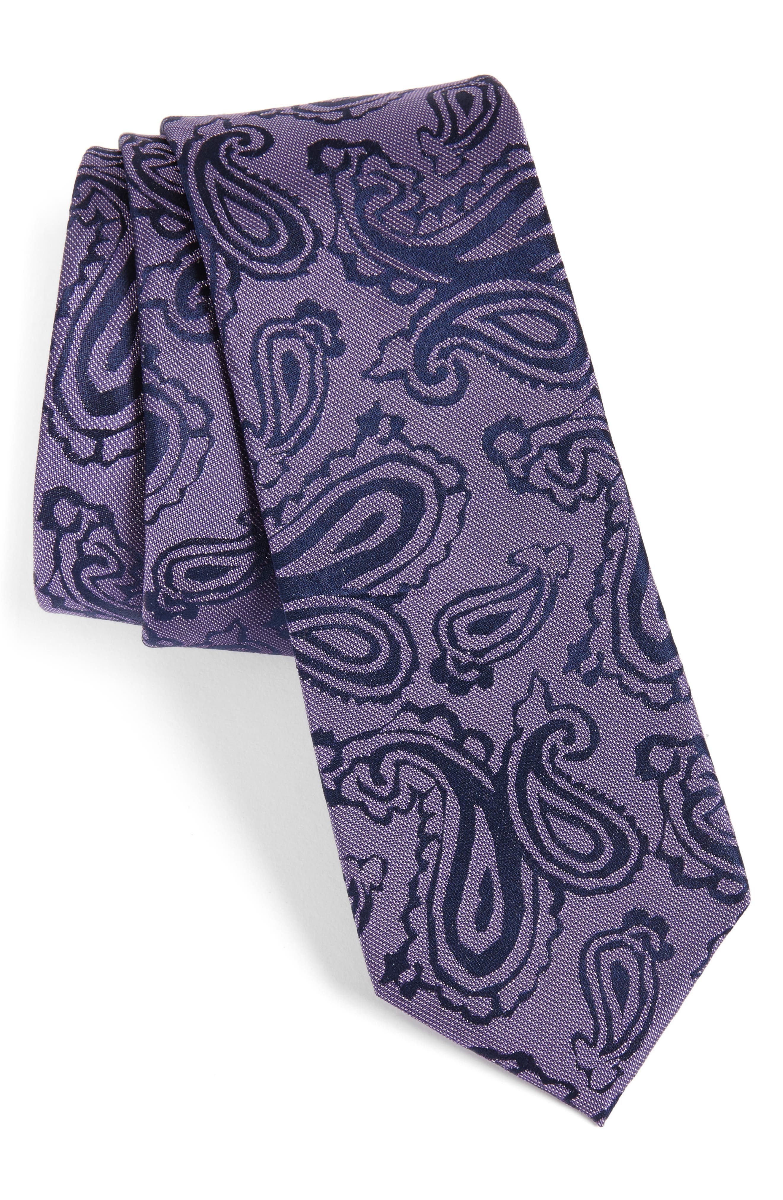 Paisley Silk Skinny Tie,                             Main thumbnail 4, color,