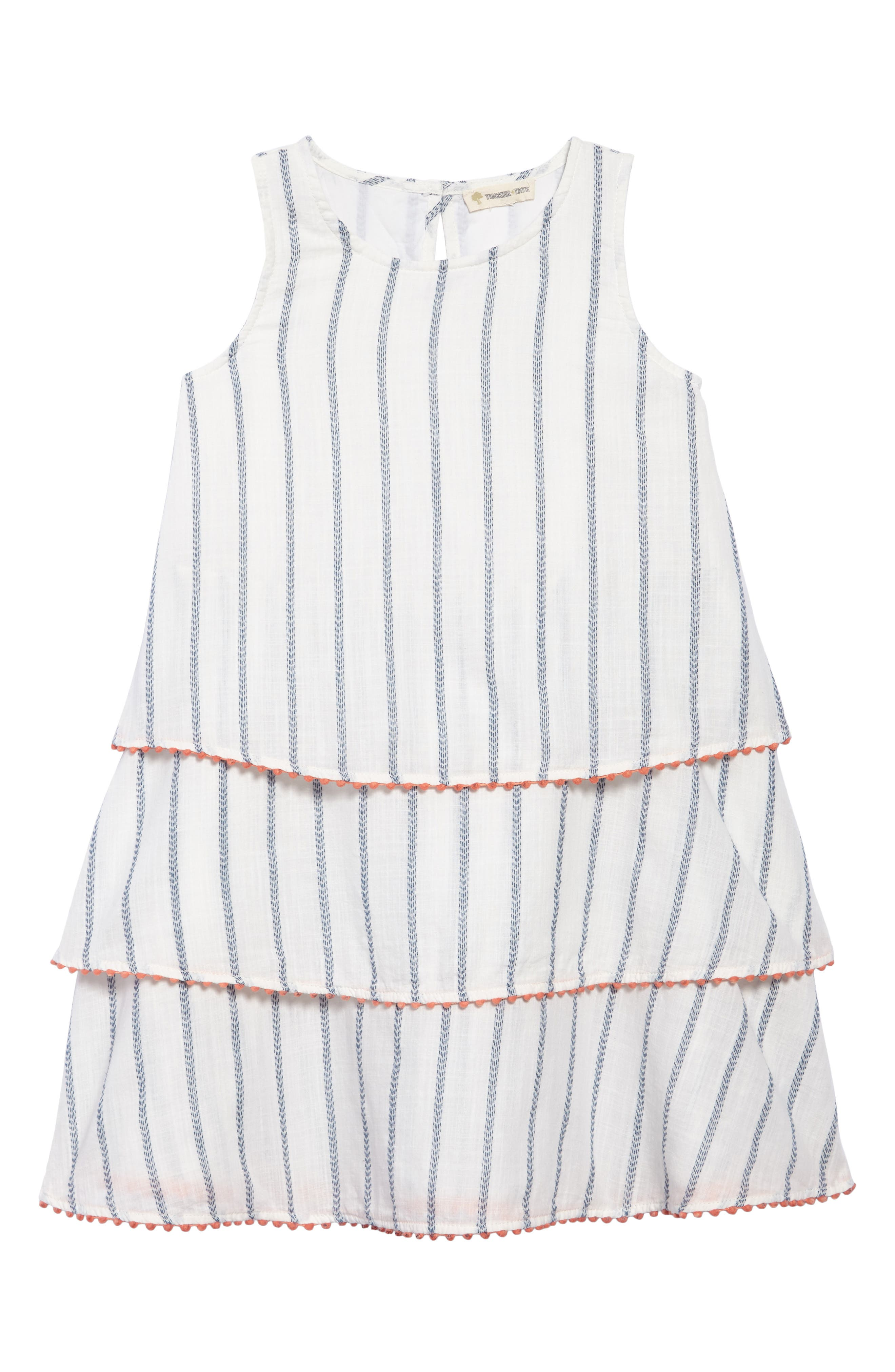 Tiered Woven Dress,                             Main thumbnail 1, color,                             WHITE- BLUE STRIPE