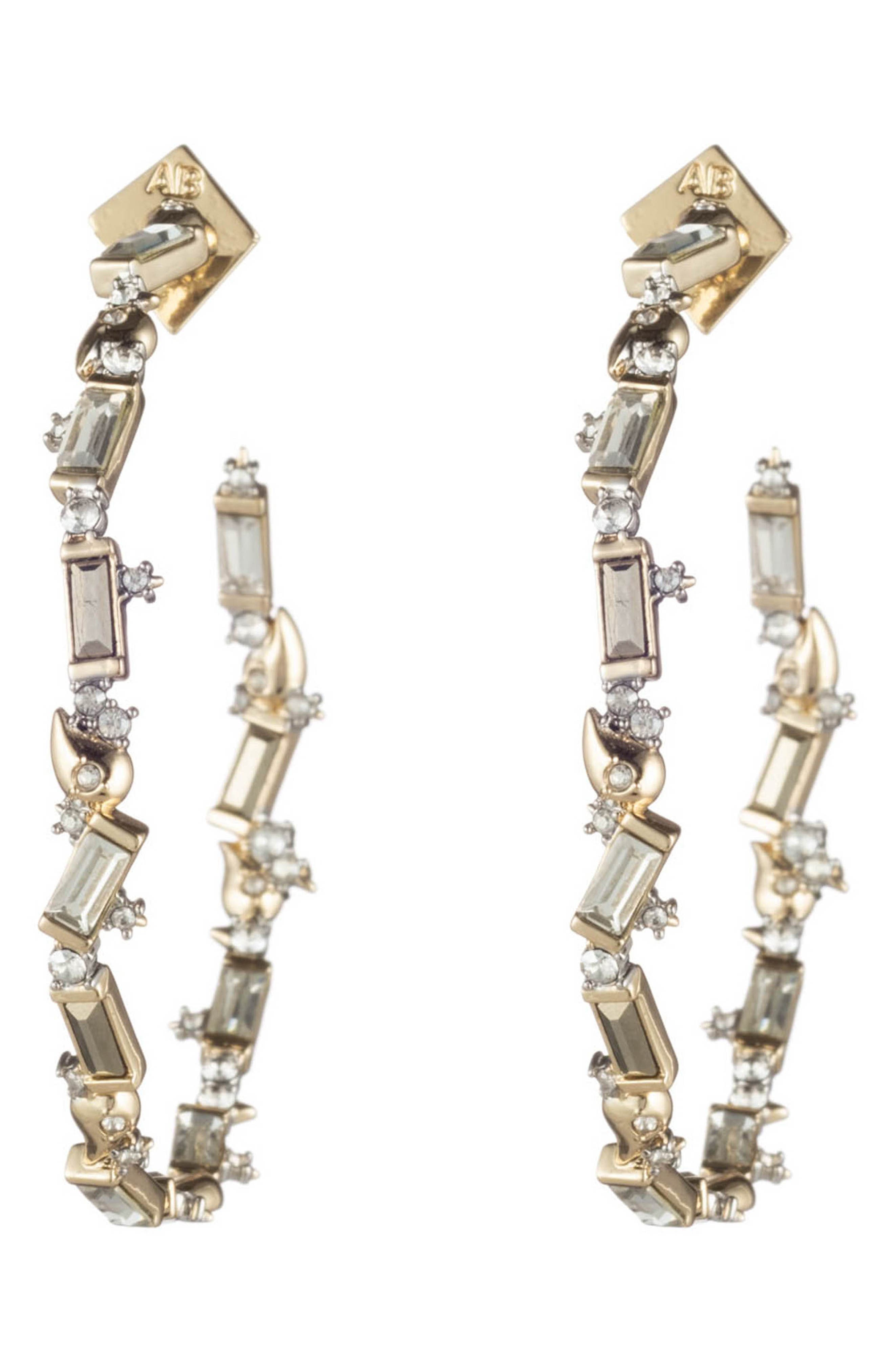 ALEXIS BITTAR Retro Gold Crystal Baguette Hoop Earrings