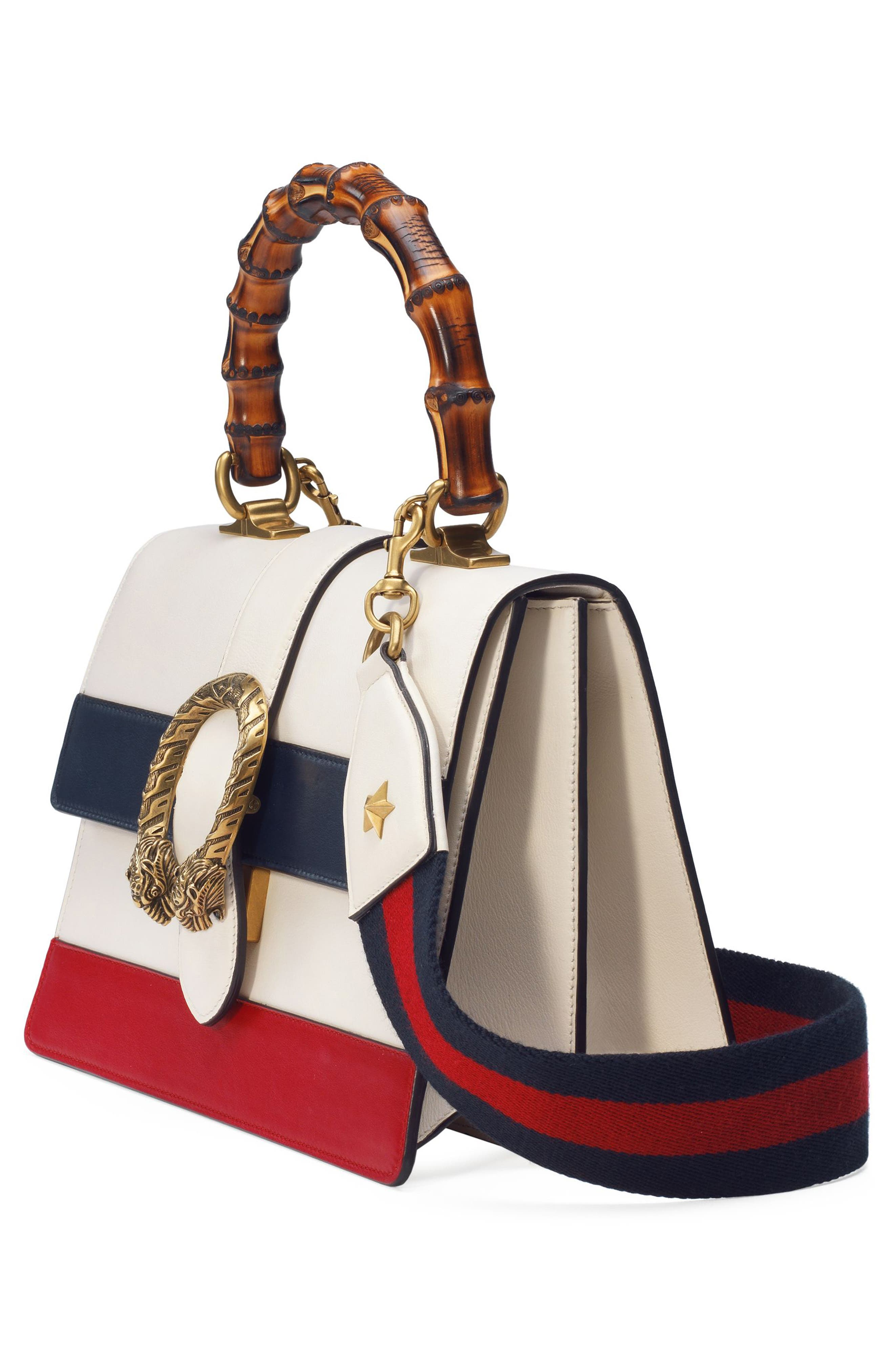 Small Dionysus Top Handle Leather Shoulder Bag,                             Alternate thumbnail 5, color,                             MYSTIC WHITE/ BLUE/ RED