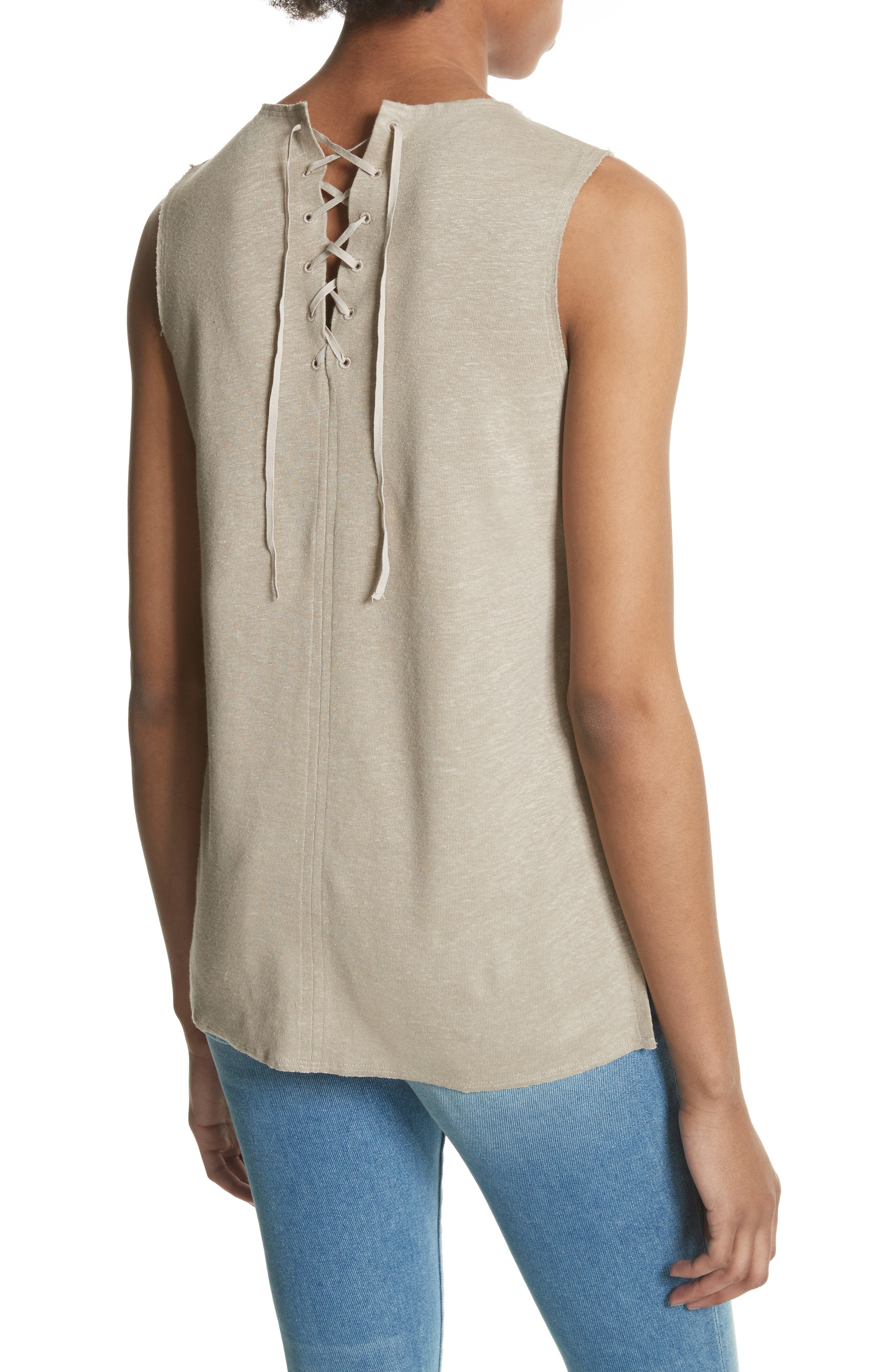 Lace-Up Linen Top,                             Alternate thumbnail 2, color,                             256