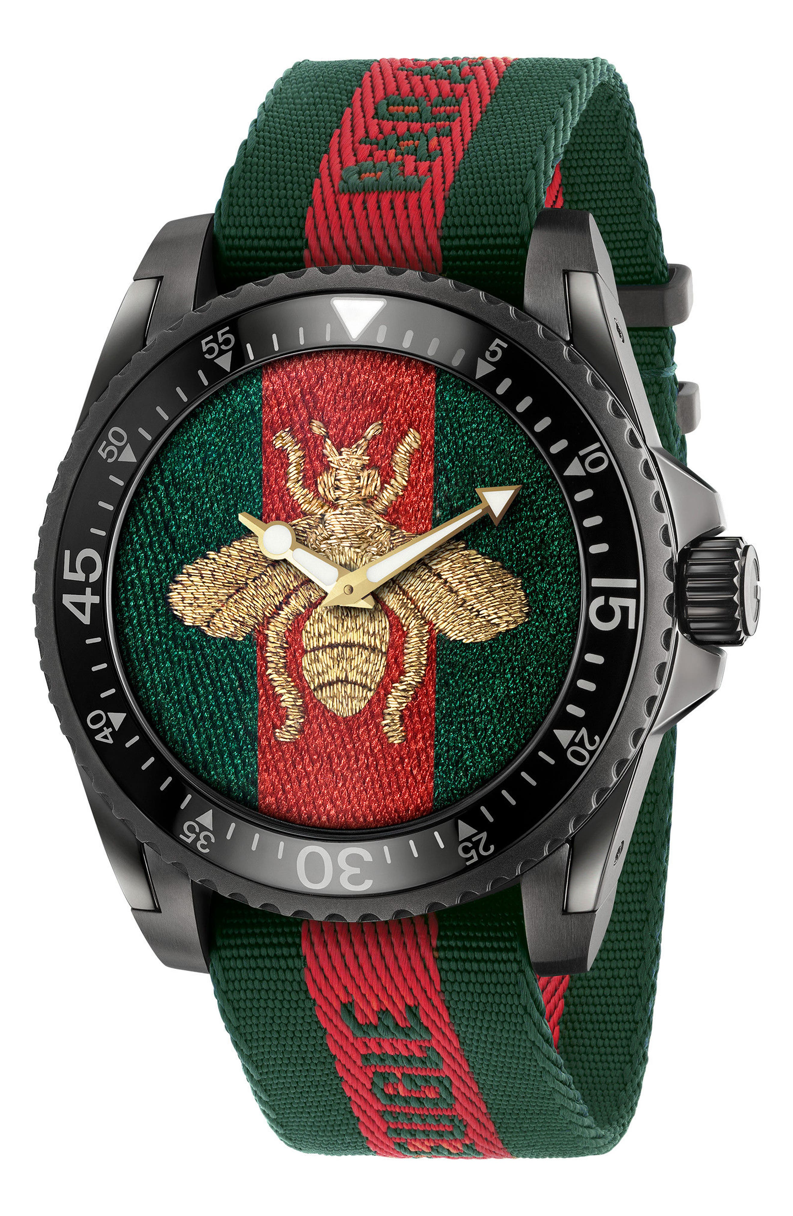 Bee Nylon Strap Watch, 47mm,                         Main,                         color, GREEN/ RED/ GREEN