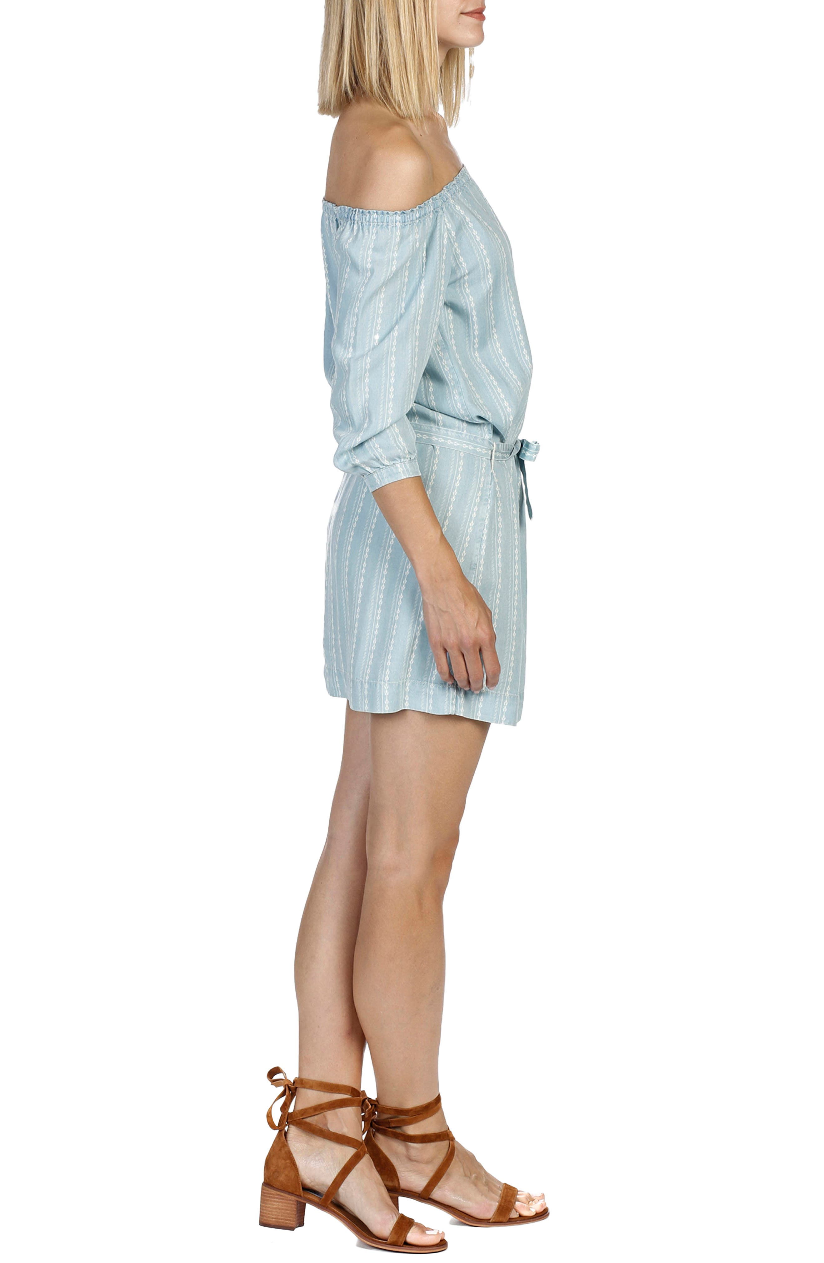 Beatrice Chambray Off the Shoulder Dress,                             Alternate thumbnail 3, color,                             400