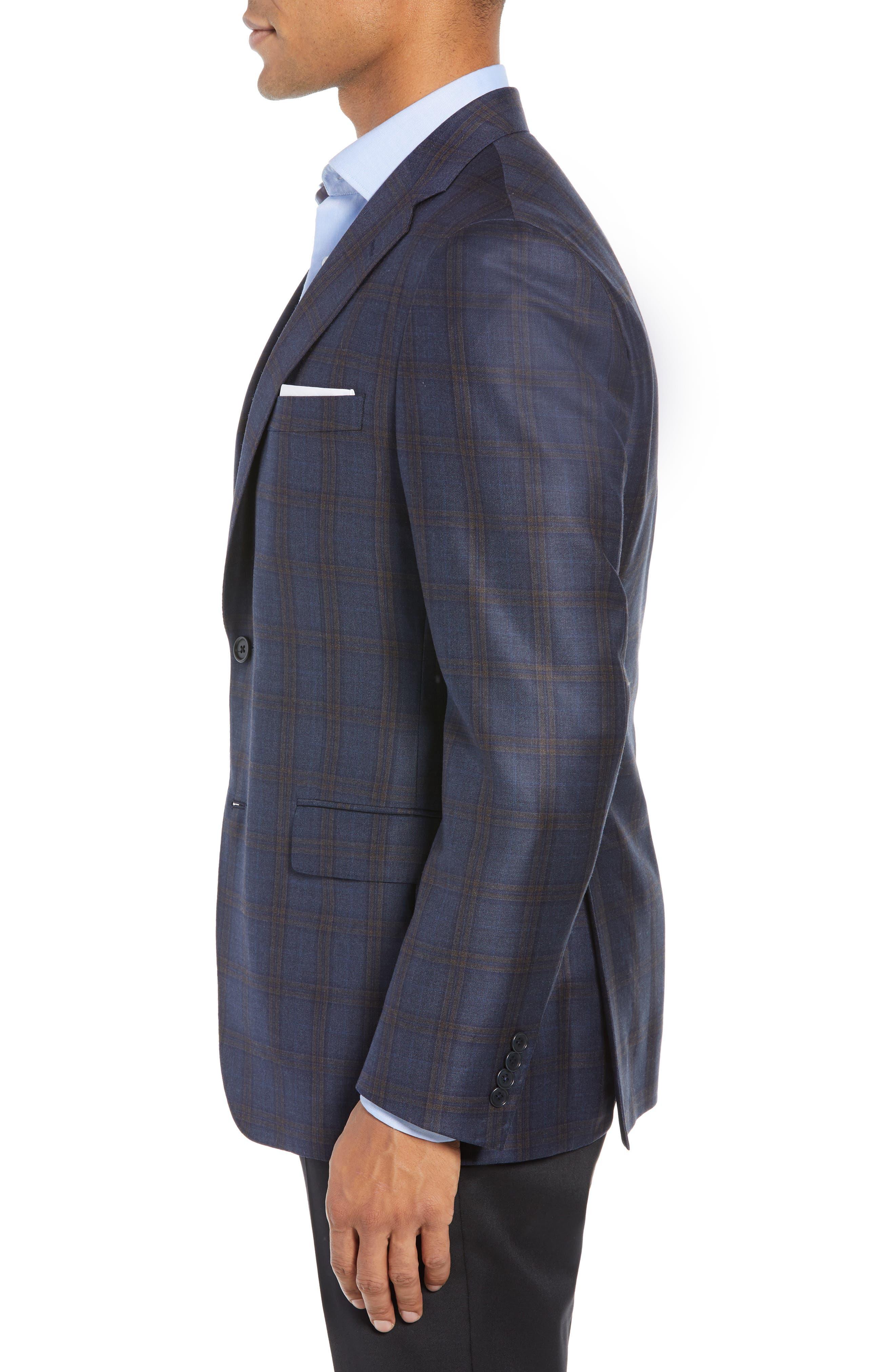 Classic Fit Plaid Wool Sport Coat,                             Alternate thumbnail 3, color,                             BLUE/ BROWN