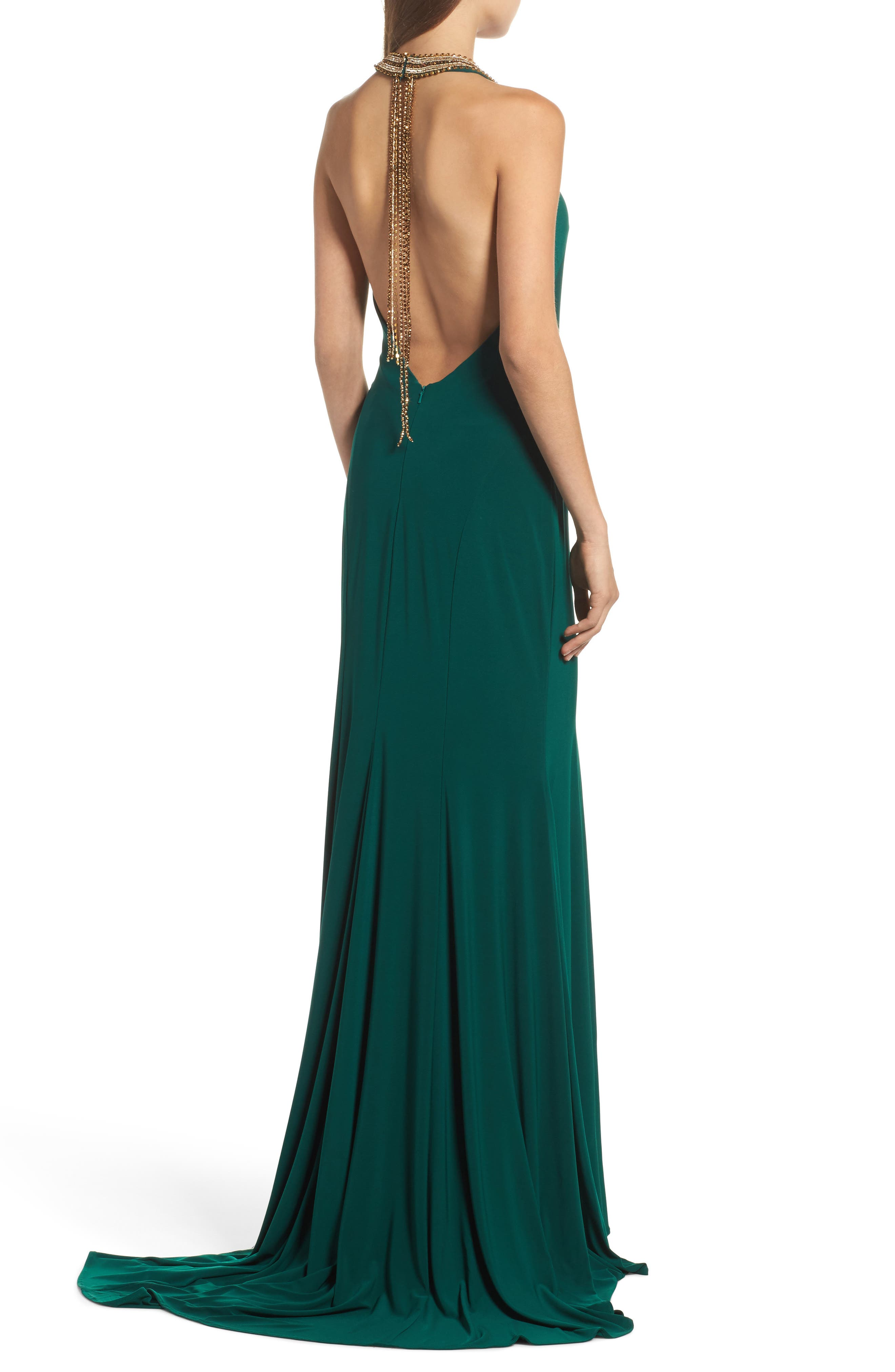 Beaded Halter Neck Gown,                             Alternate thumbnail 2, color,                             EMERALD