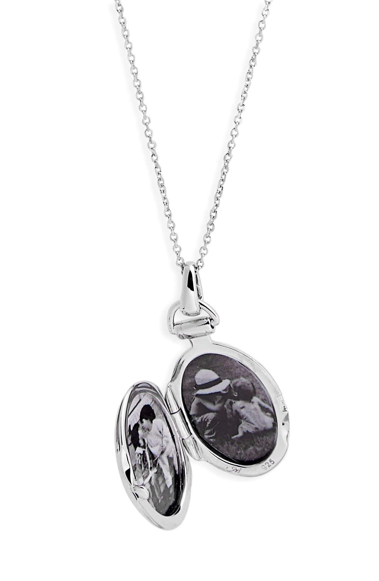 Petite Locket Necklace,                             Alternate thumbnail 4, color,                             STERLING SILVER