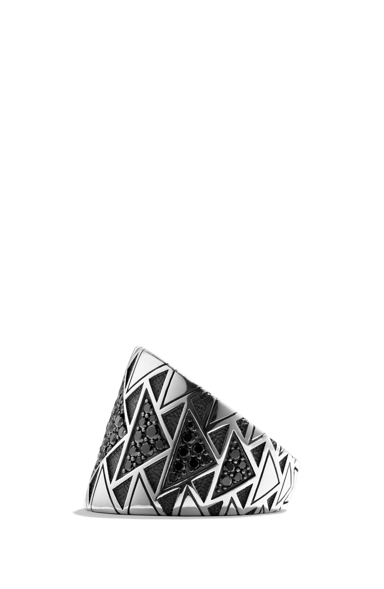 Southwest Signet Ring with Black Diamonds,                             Alternate thumbnail 10, color,