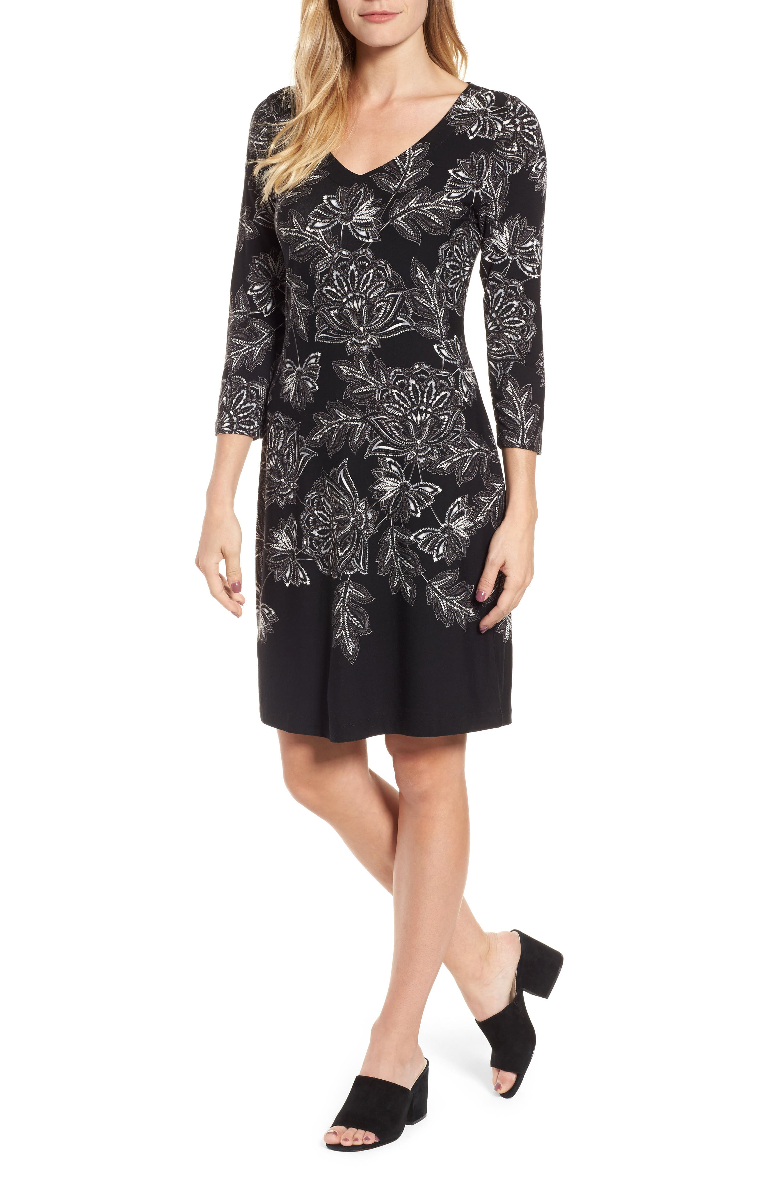 Filigree Floral Print Dress,                             Main thumbnail 1, color,                             001