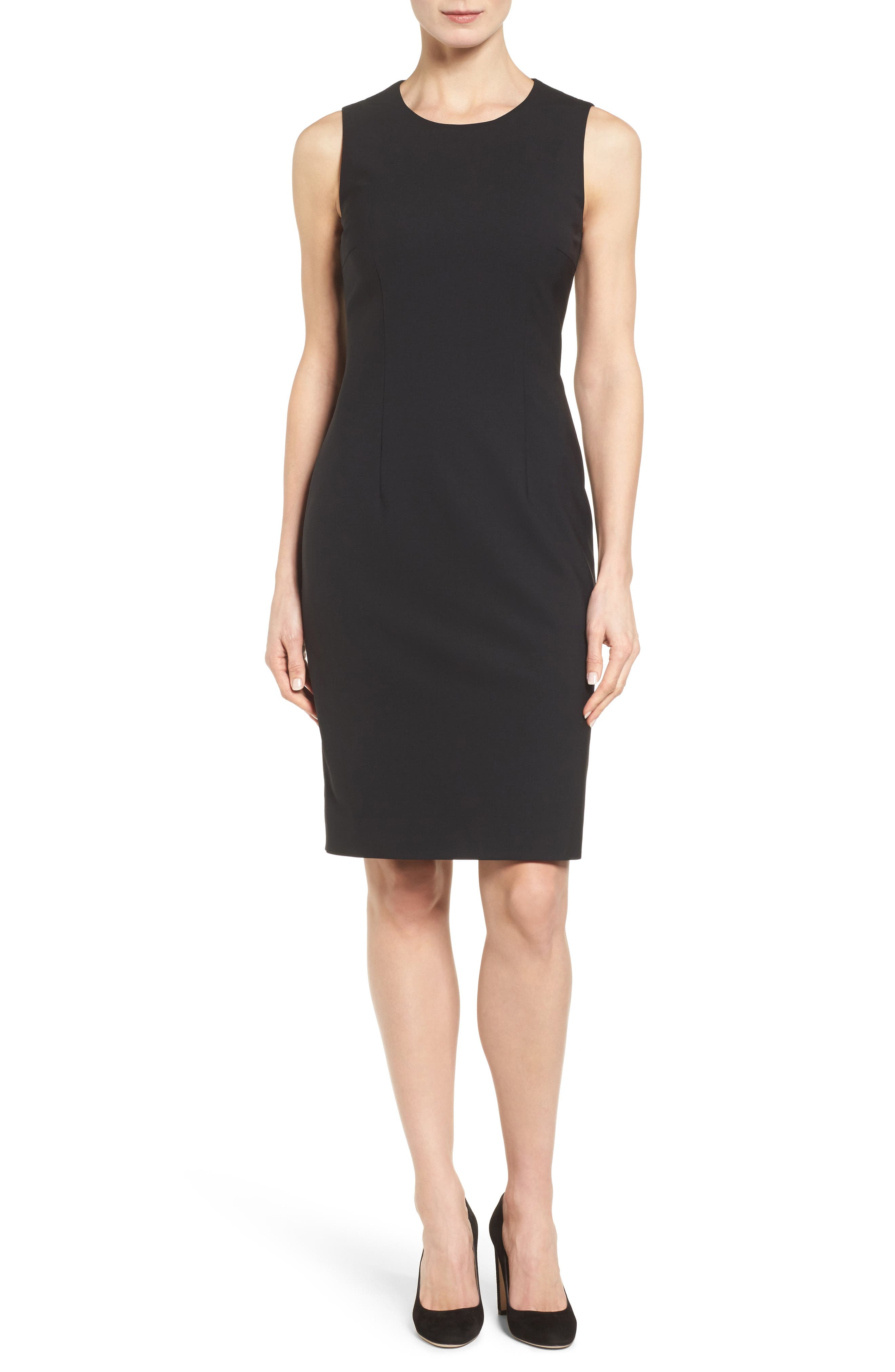 Boss Dirusa Tropical Stretch Wool Dress, Black