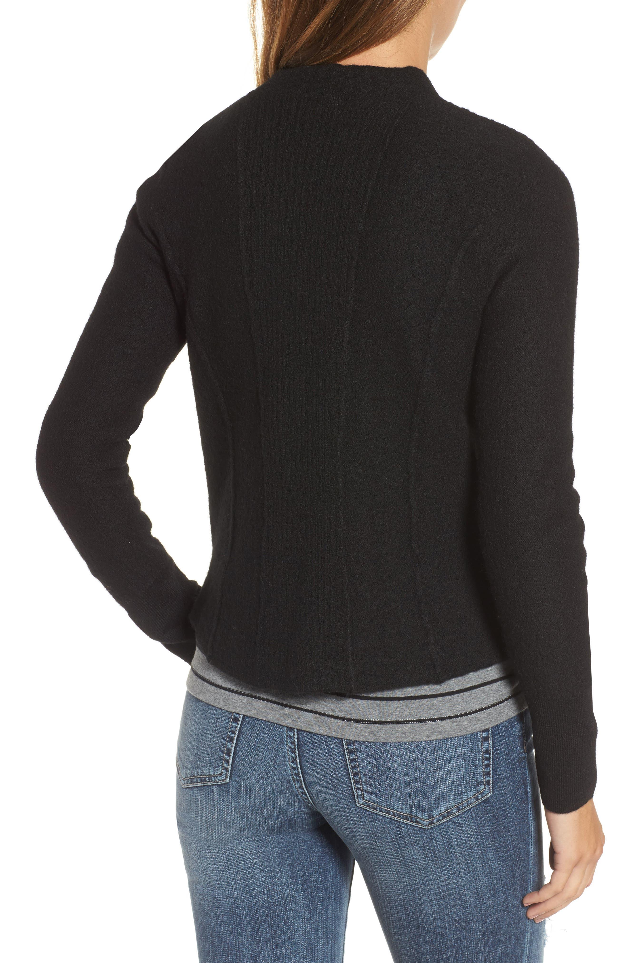 Knit Sweater Coat,                             Alternate thumbnail 2, color,                             001