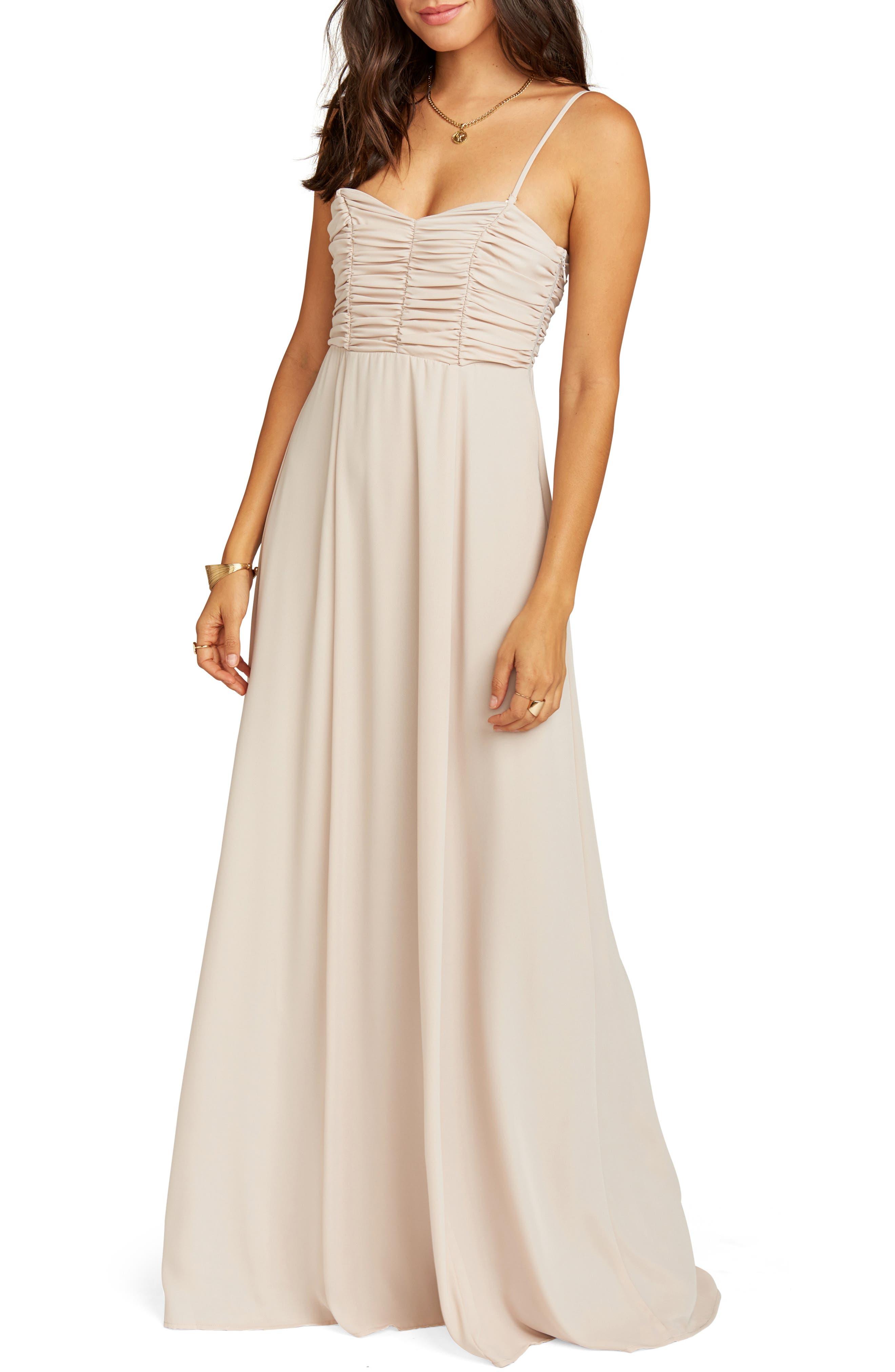 Show Me Your Mumu Bonbon Optional Strap Gown, Beige