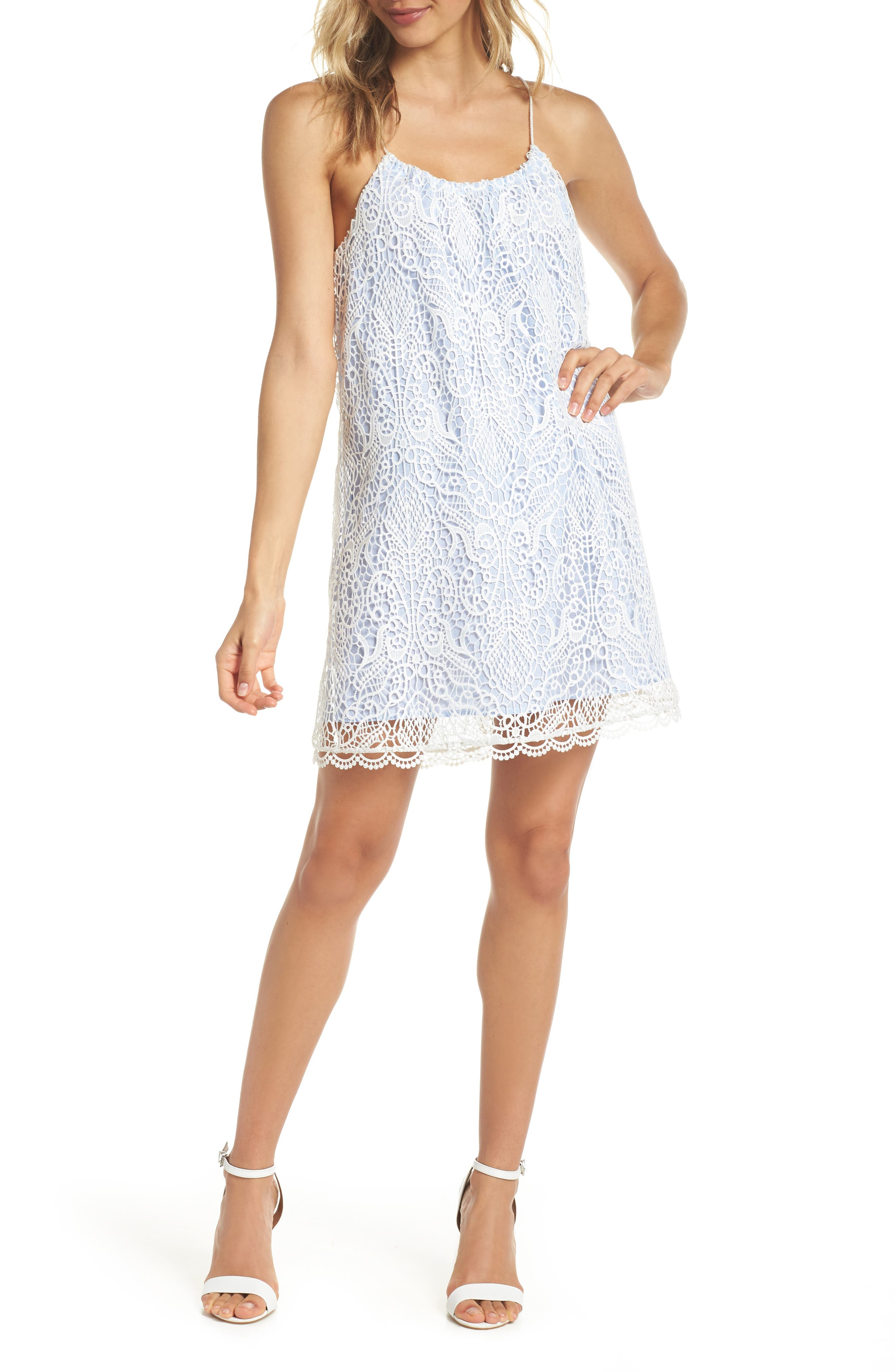 Pinstripe Cotton Lace Shift Dress,                             Main thumbnail 1, color,