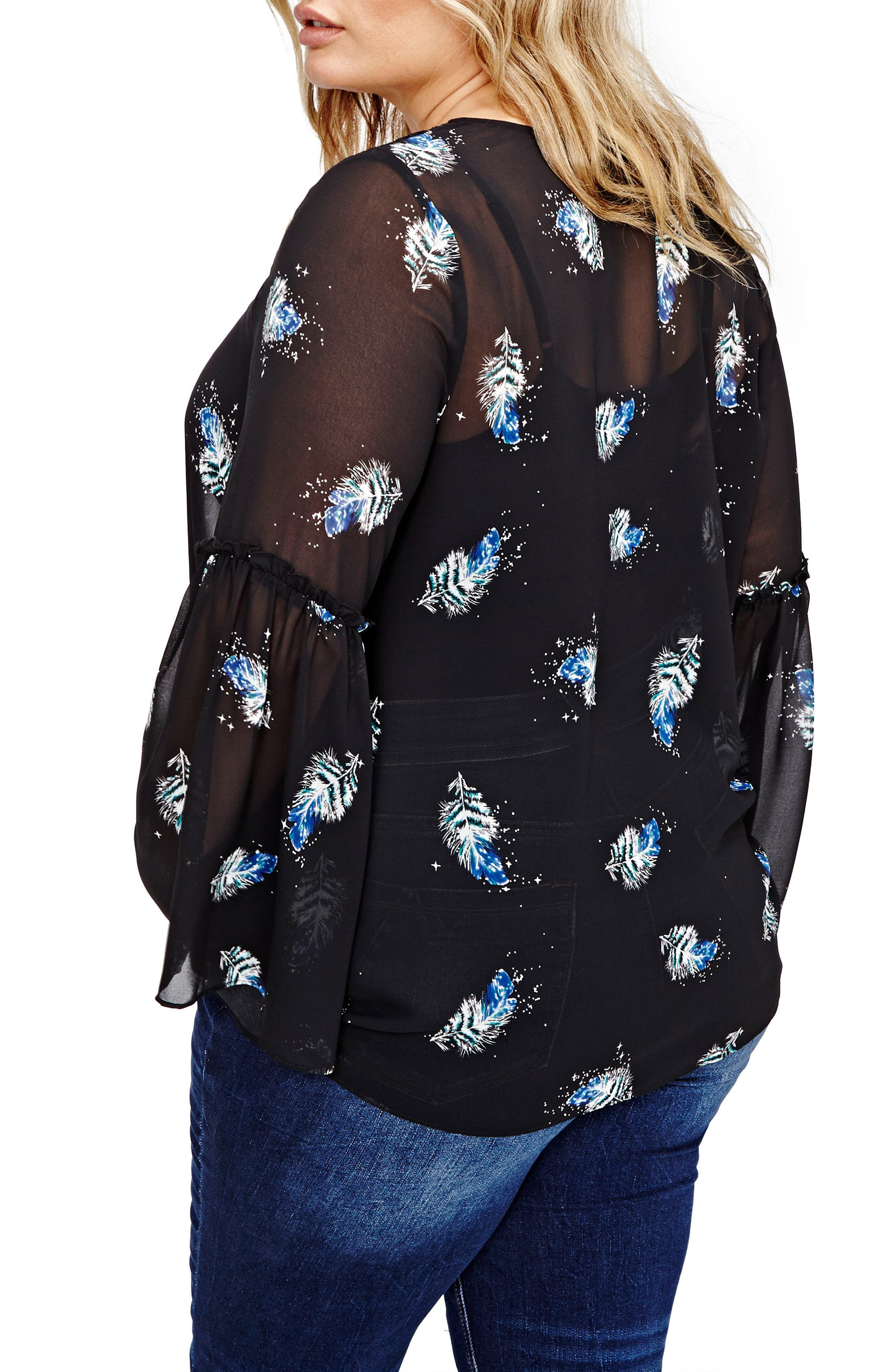 Bell Sleeve Printed Blouse,                             Alternate thumbnail 2, color,                             001