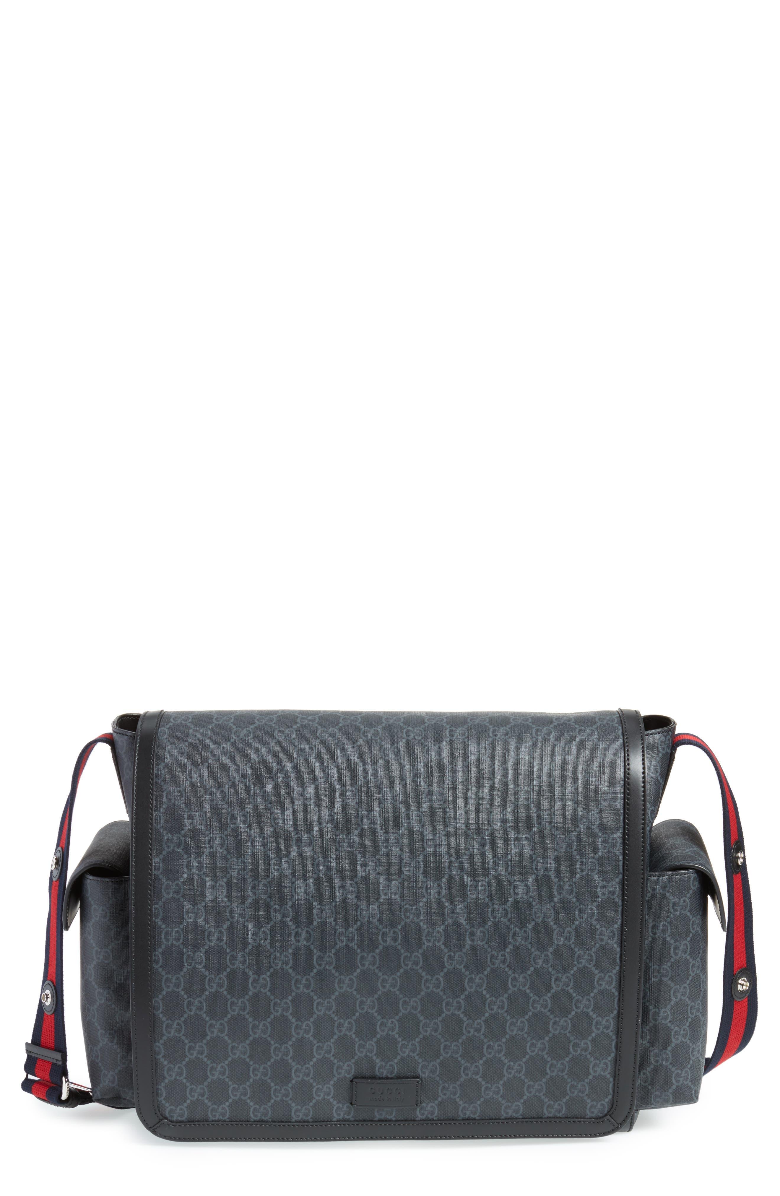 GG Supreme Canvas Diaper Bag,                             Main thumbnail 1, color,                             BLACK