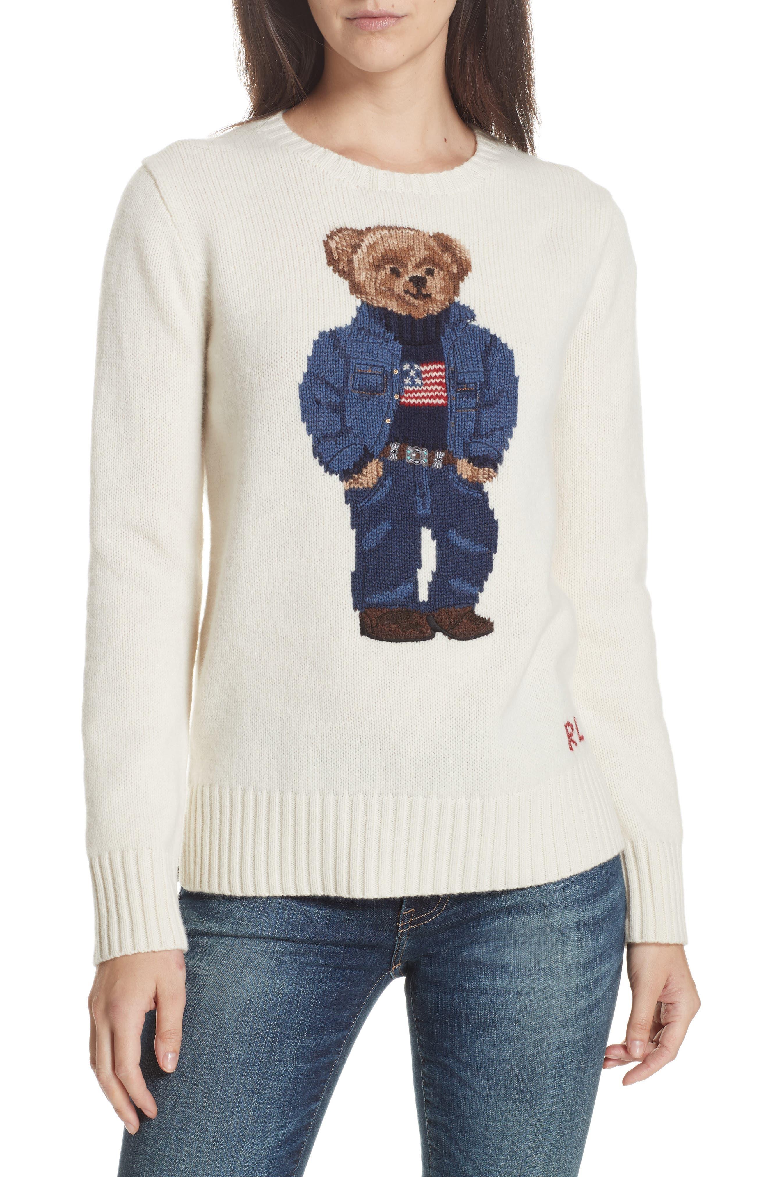 Bear Wool Sweater,                             Main thumbnail 1, color,                             CREAM