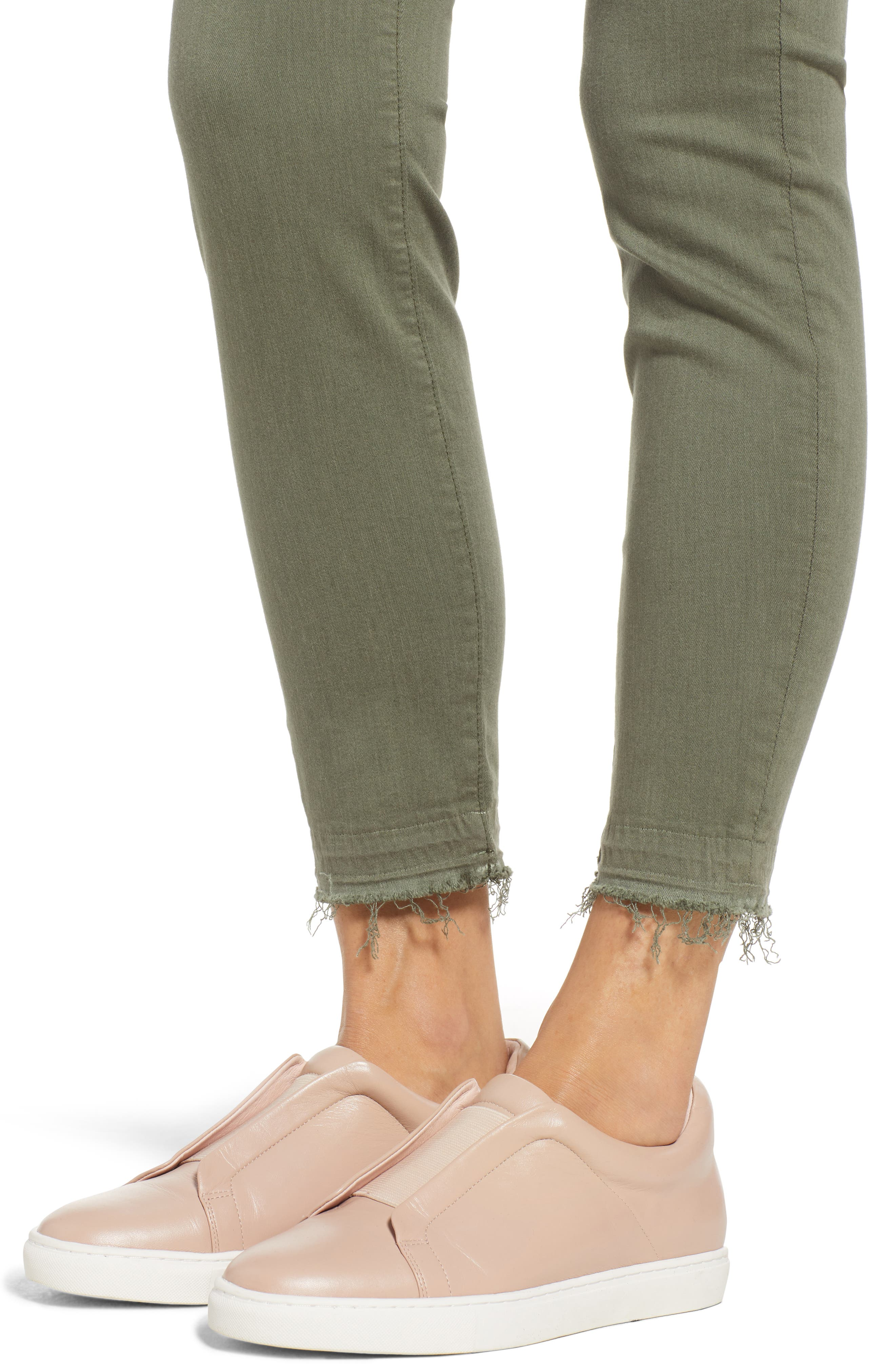 Release Hem Colored Ankle Skinny Jeans,                             Alternate thumbnail 4, color,                             WASHED FATIGUE