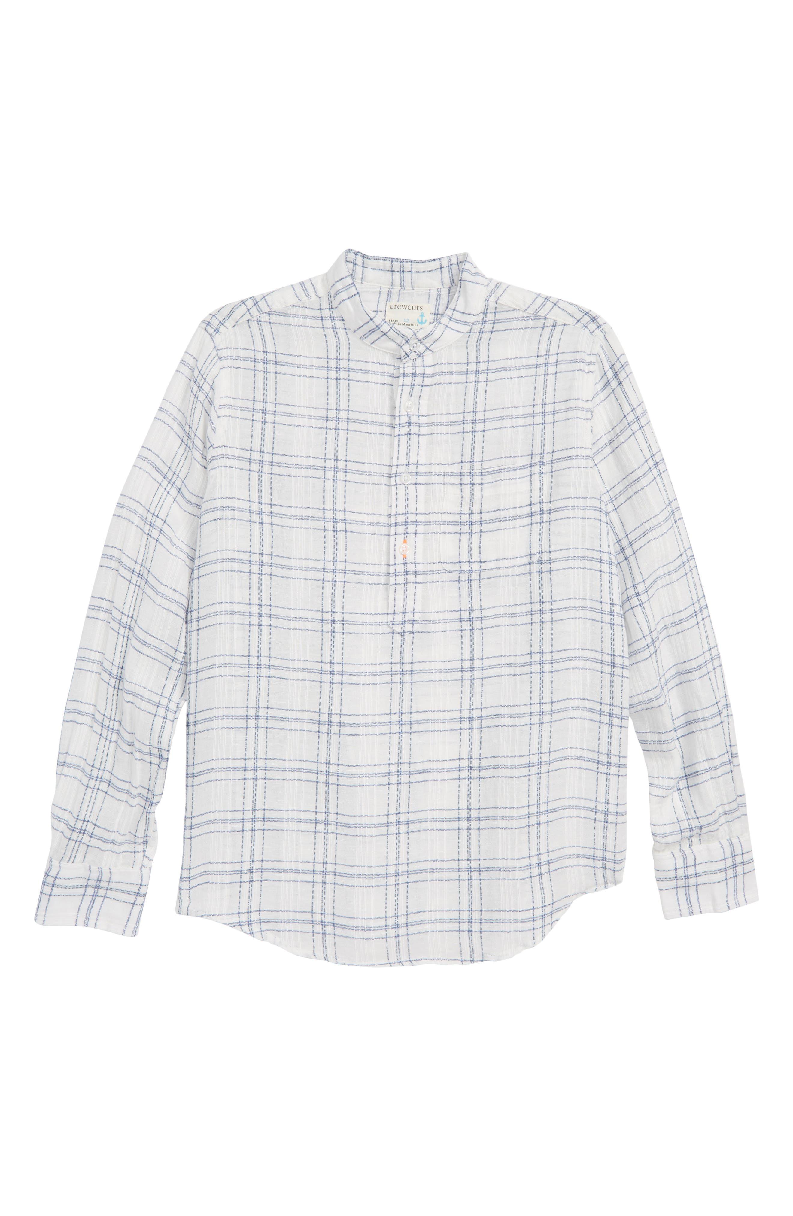 CREWCUTS BY J.CREW Windowpane Band Collar Linen Blend Shirt, Main, color, 900