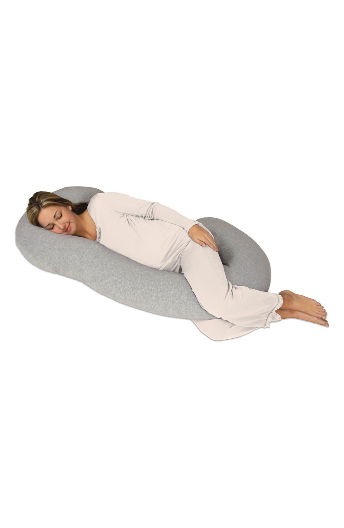 Snoogle Chic Full Body Pregnancy Support Pillow with Jersey Cover,                             Alternate thumbnail 2, color,                             HEATHER GREY