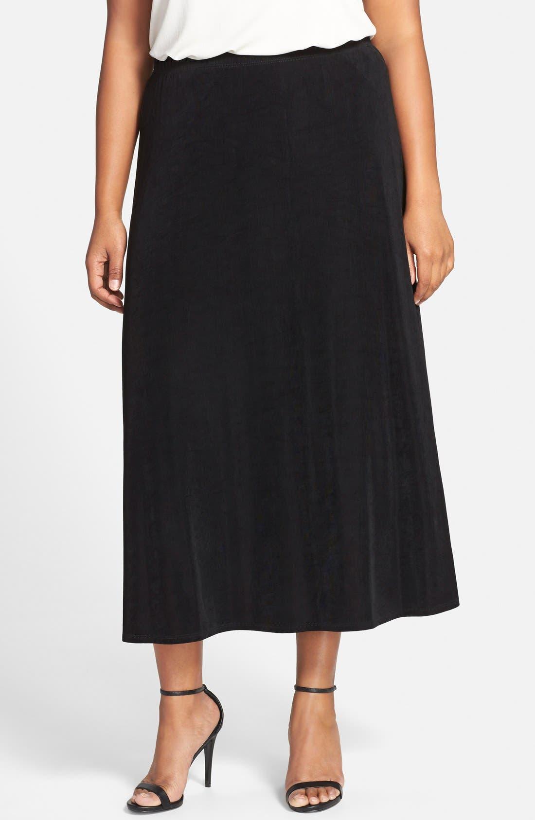 Long A-Line Skirt,                         Main,                         color, BLACK