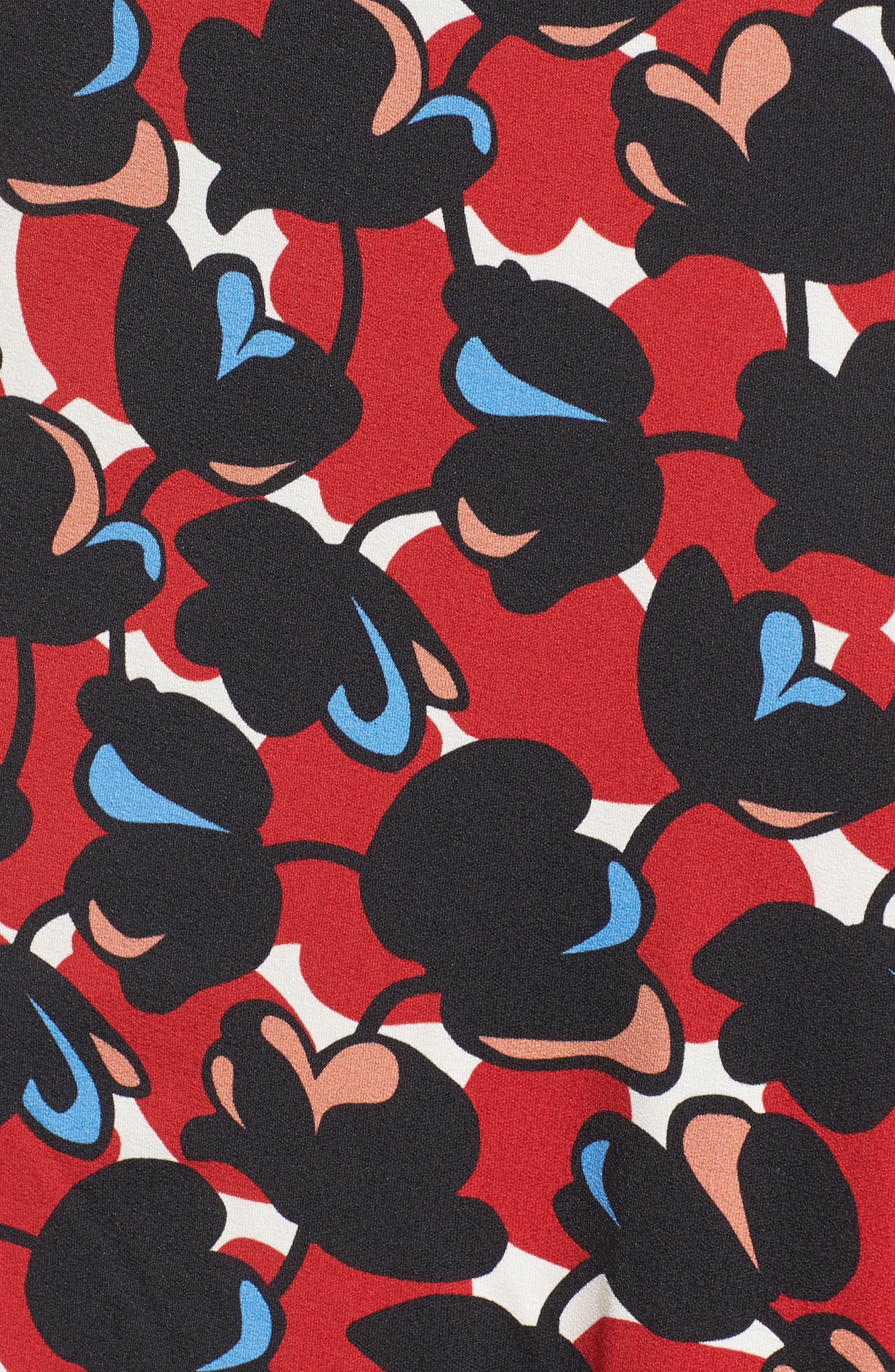 Eleika Print Jersey Sheath Dress,                             Alternate thumbnail 5, color,                             002