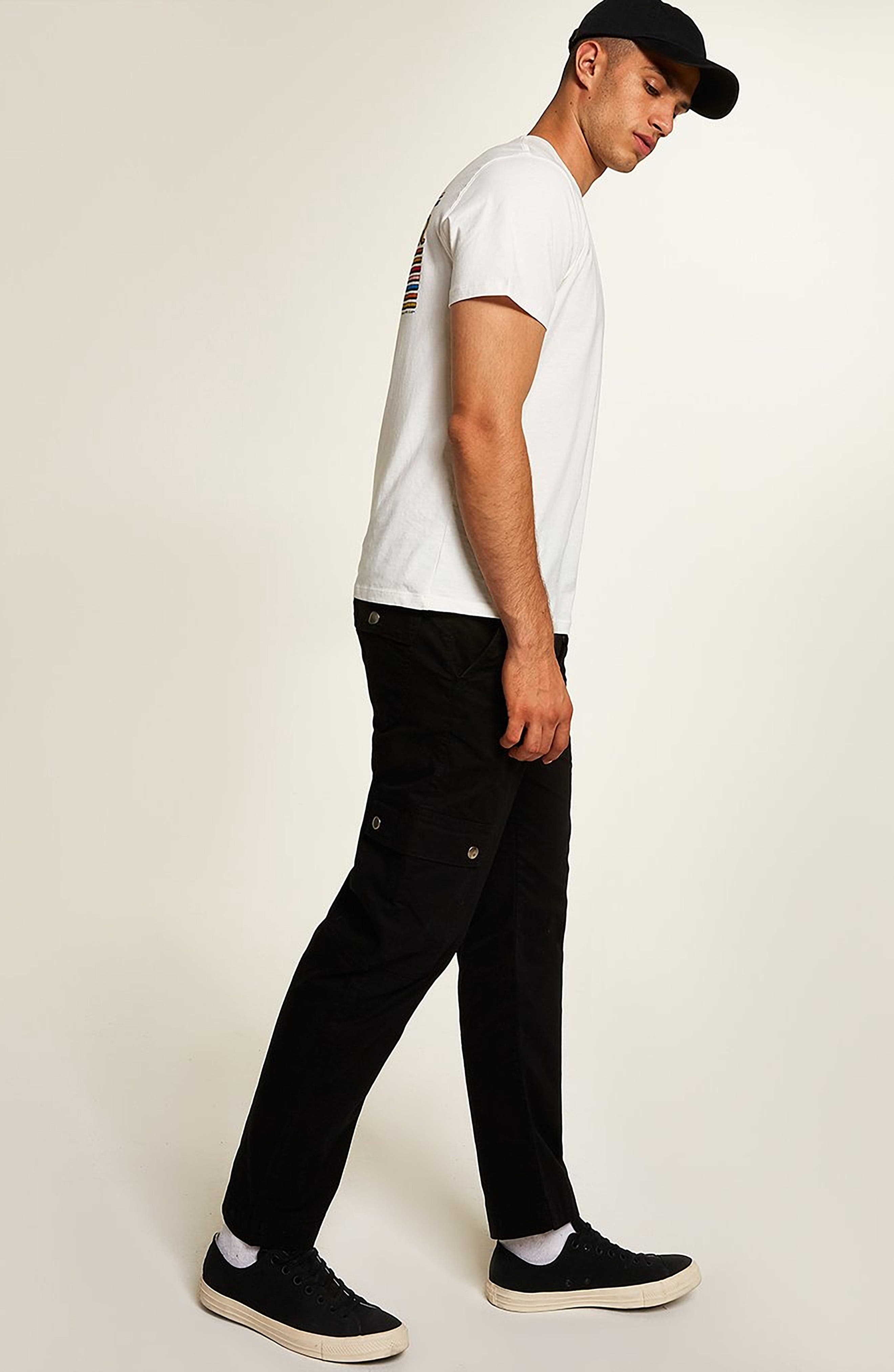 Straight Fit Cargo Trousers,                             Alternate thumbnail 5, color,                             BLACK