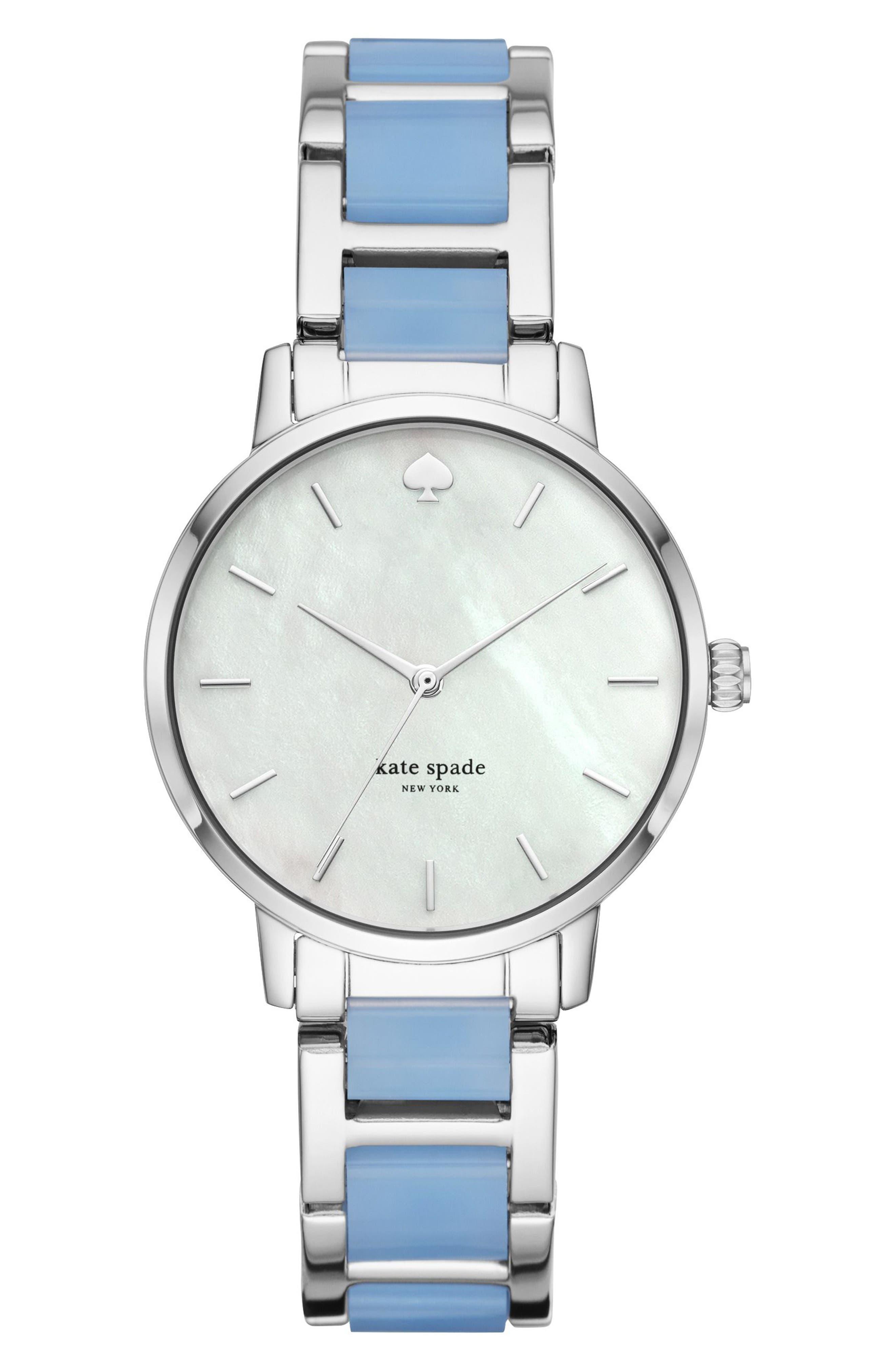 metro bracelet strap watch, 34mm,                         Main,                         color, BLUE/ MOP/ SILVER