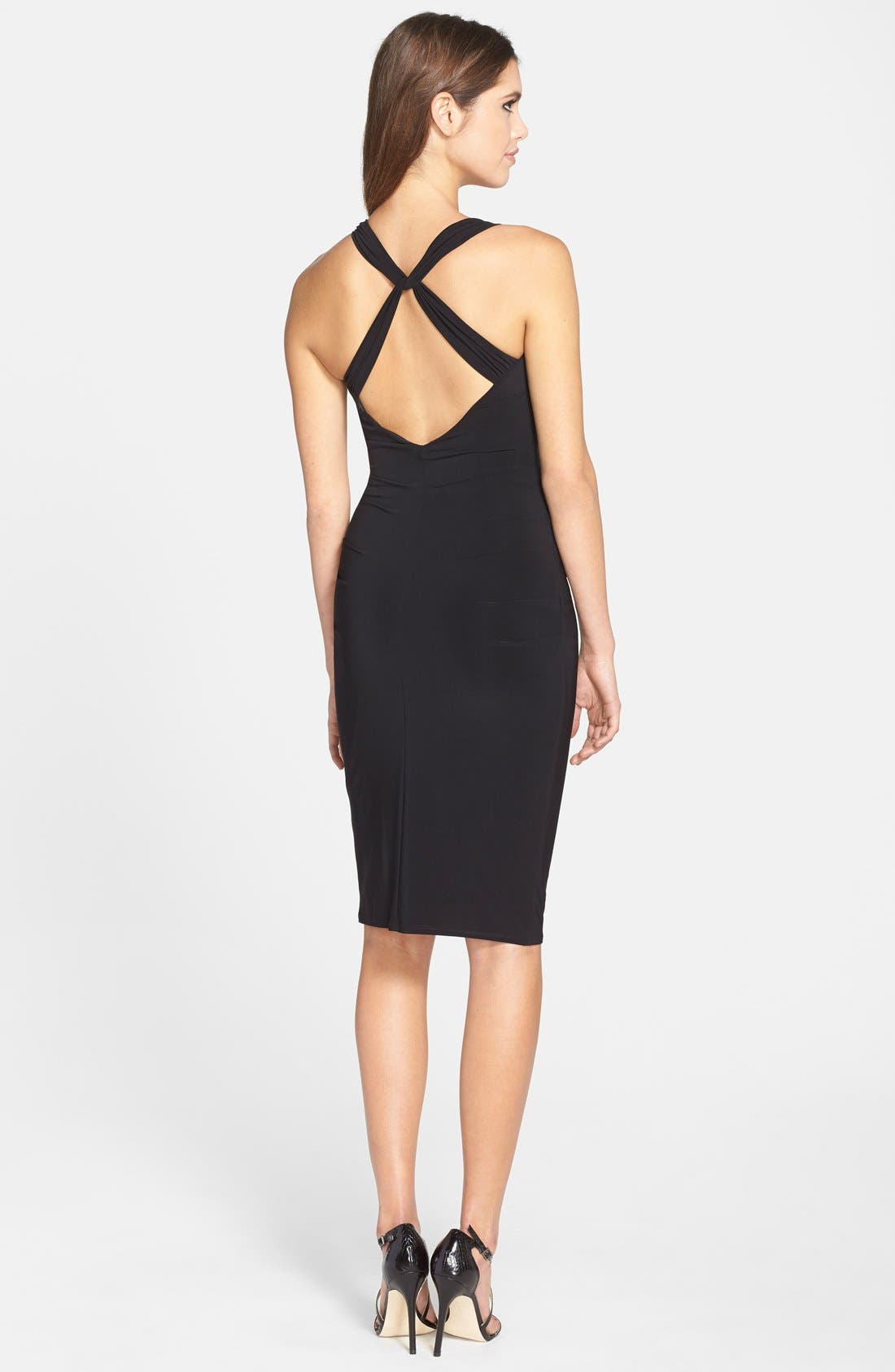Twist Back Jersey Body-Con Dress,                             Alternate thumbnail 2, color,                             001